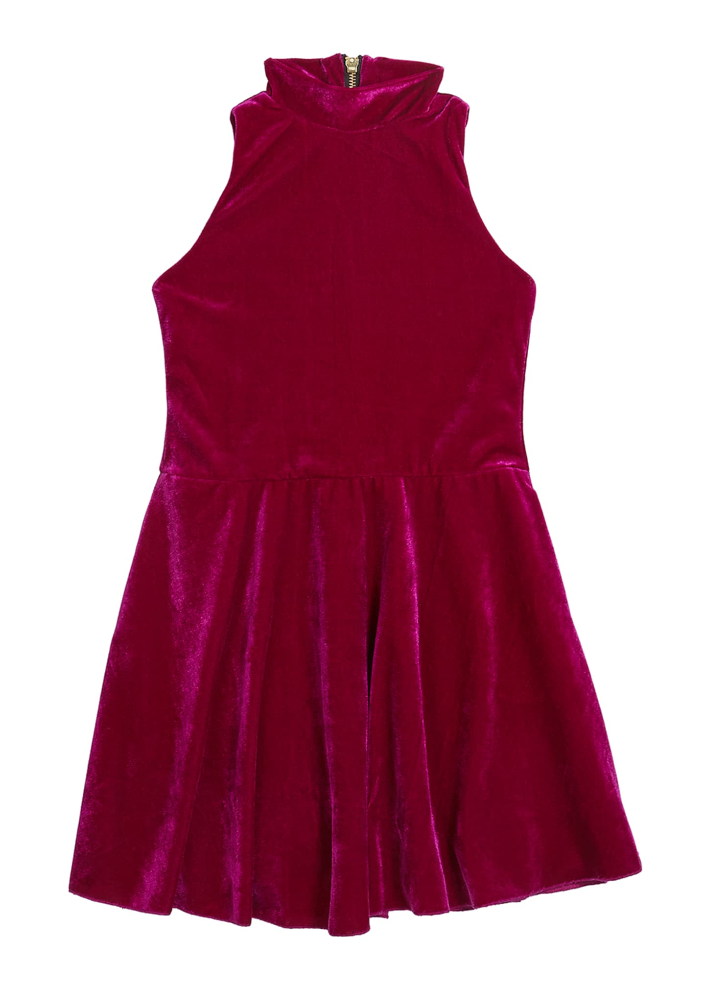 Zoe Girl's Nicole Velvet Halter-Neck Swing Dress, Size