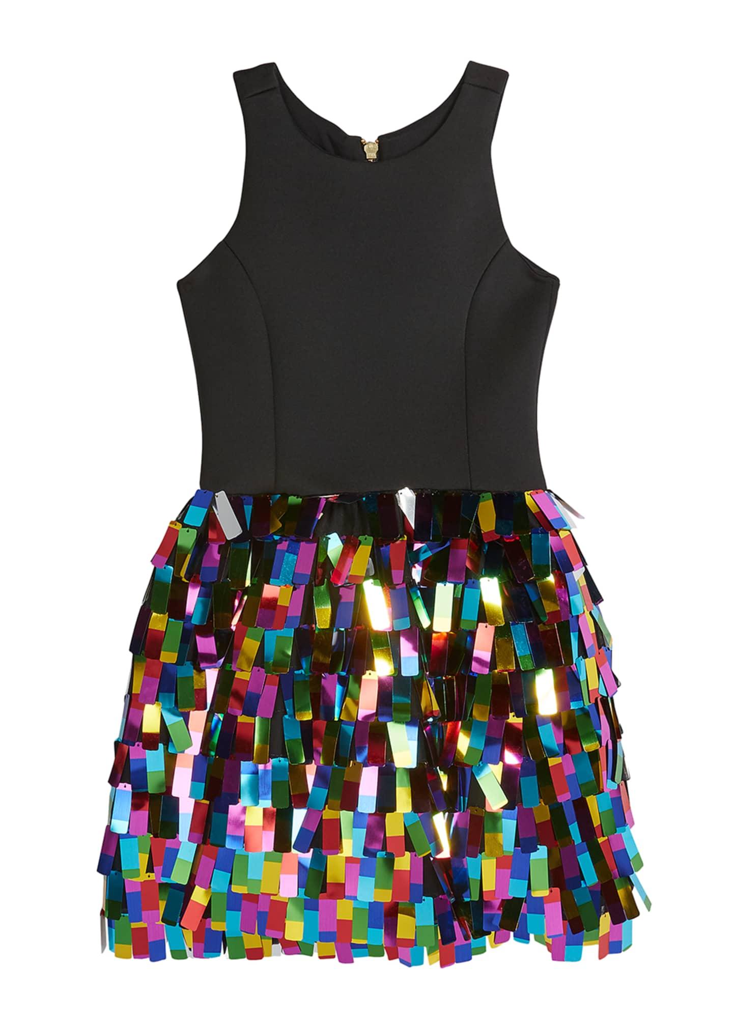 Zoe Girl's Halter Dress w/ Multicolor Rectangular Paillettes