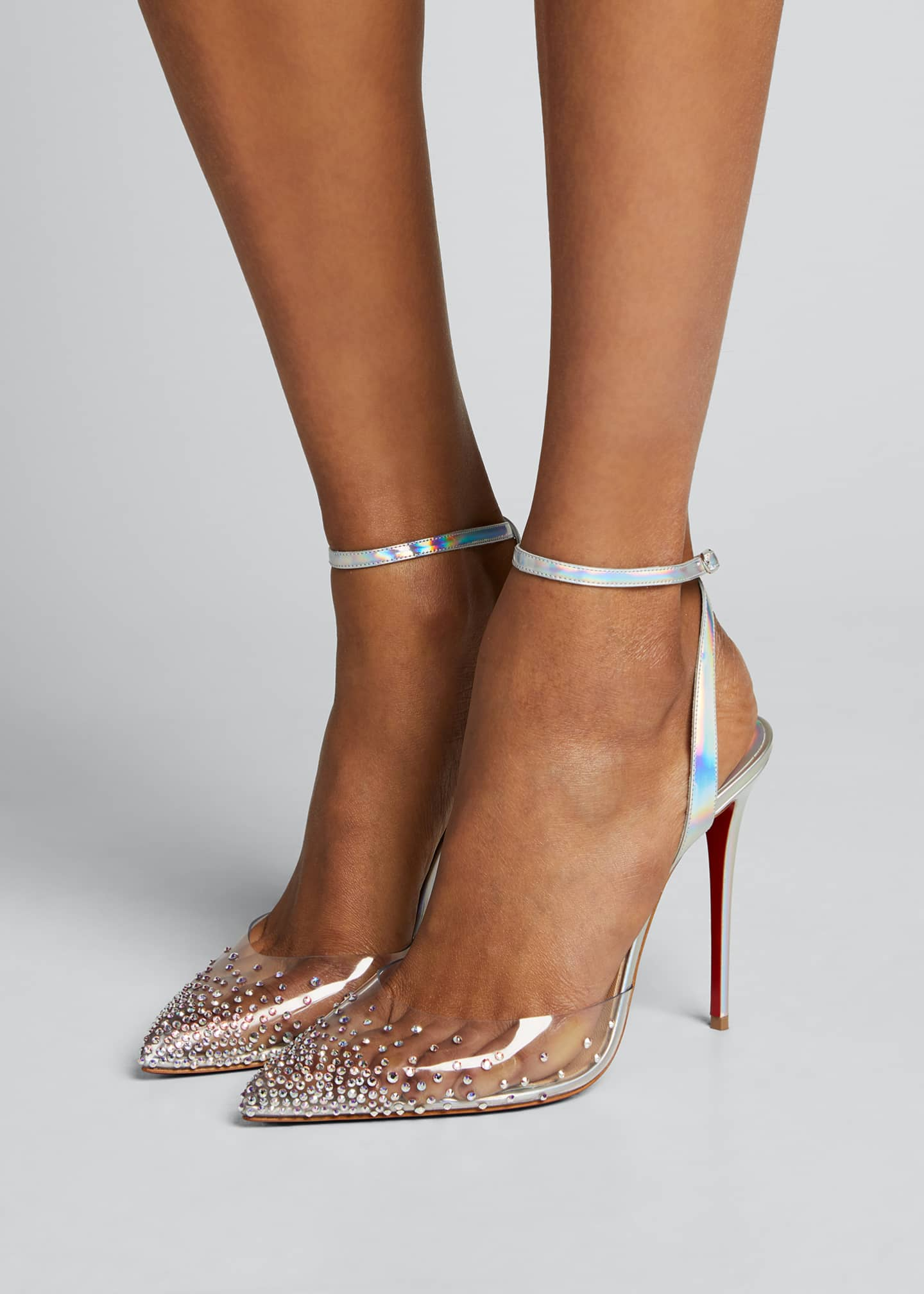 Image 2 of 5: 100mm Spikaqueen Iridescent Red Sole Pumps