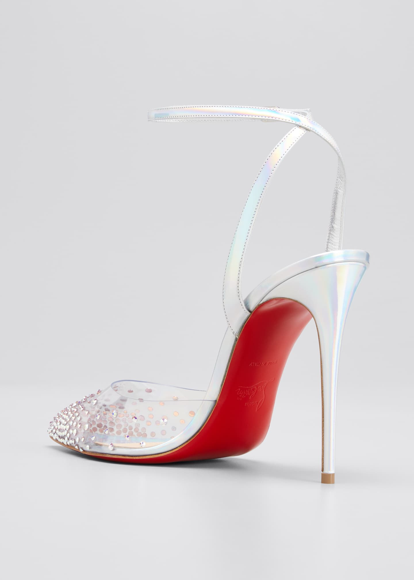 Image 4 of 5: 100mm Spikaqueen Iridescent Red Sole Pumps