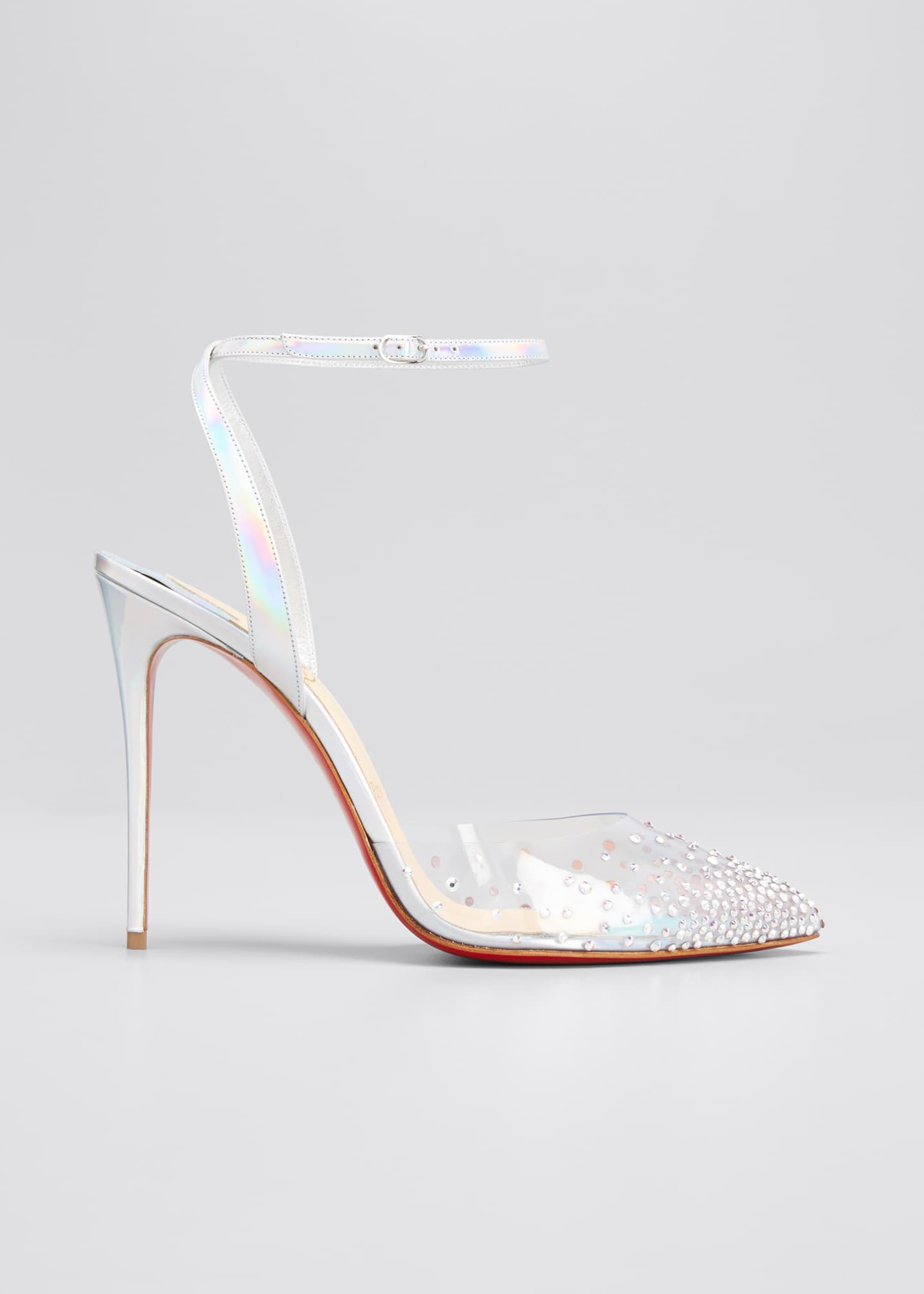 Image 1 of 5: 100mm Spikaqueen Iridescent Red Sole Pumps