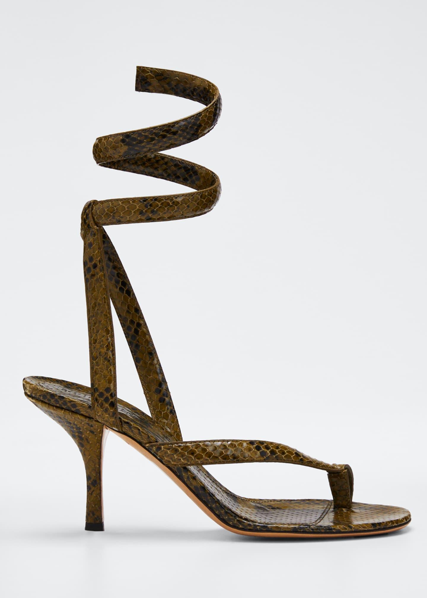 Bottega Veneta Python-Print Coil Sandals