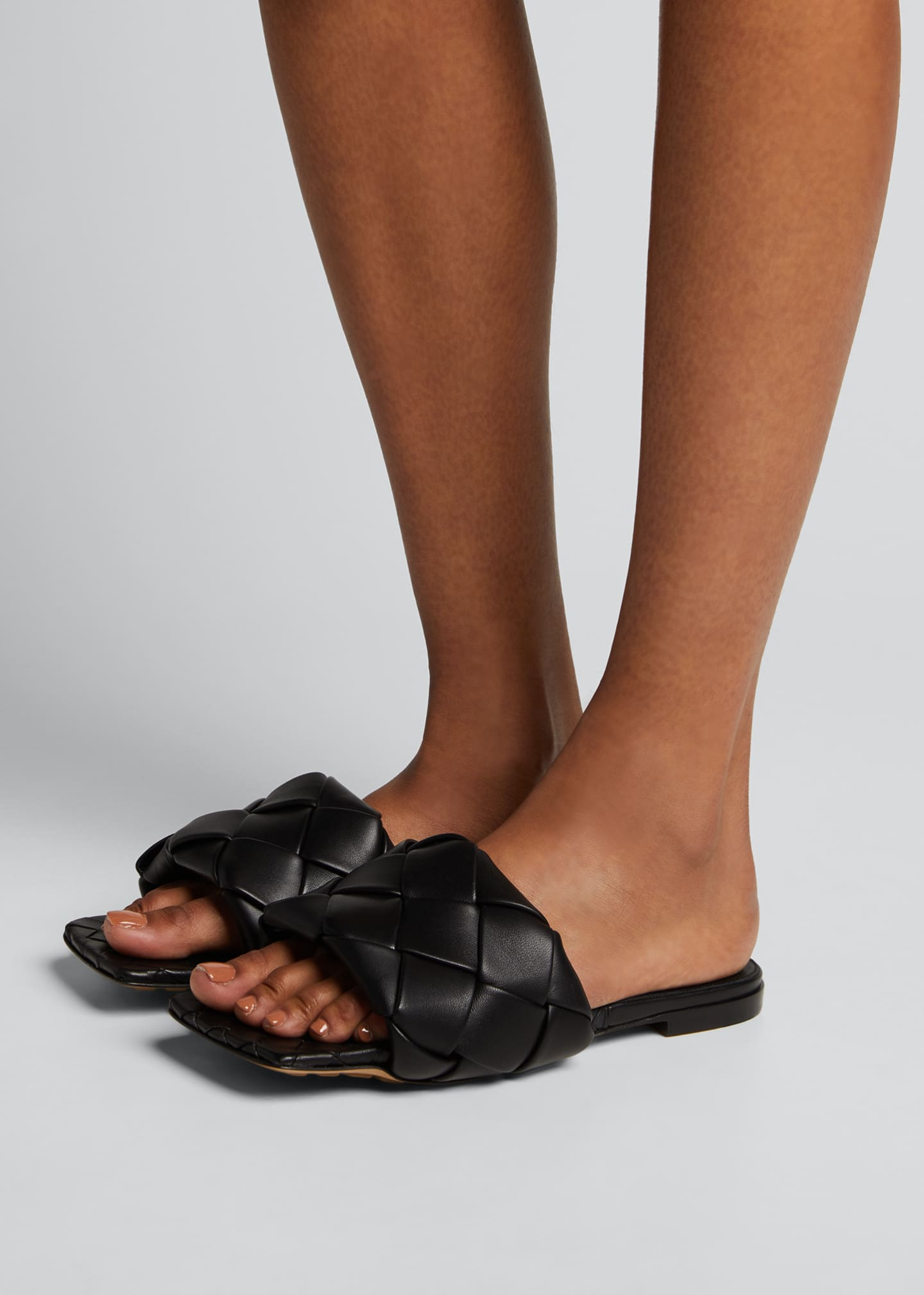 Image 2 of 5: Puffy Intreccio Square-Toe Flat Slide Sandals