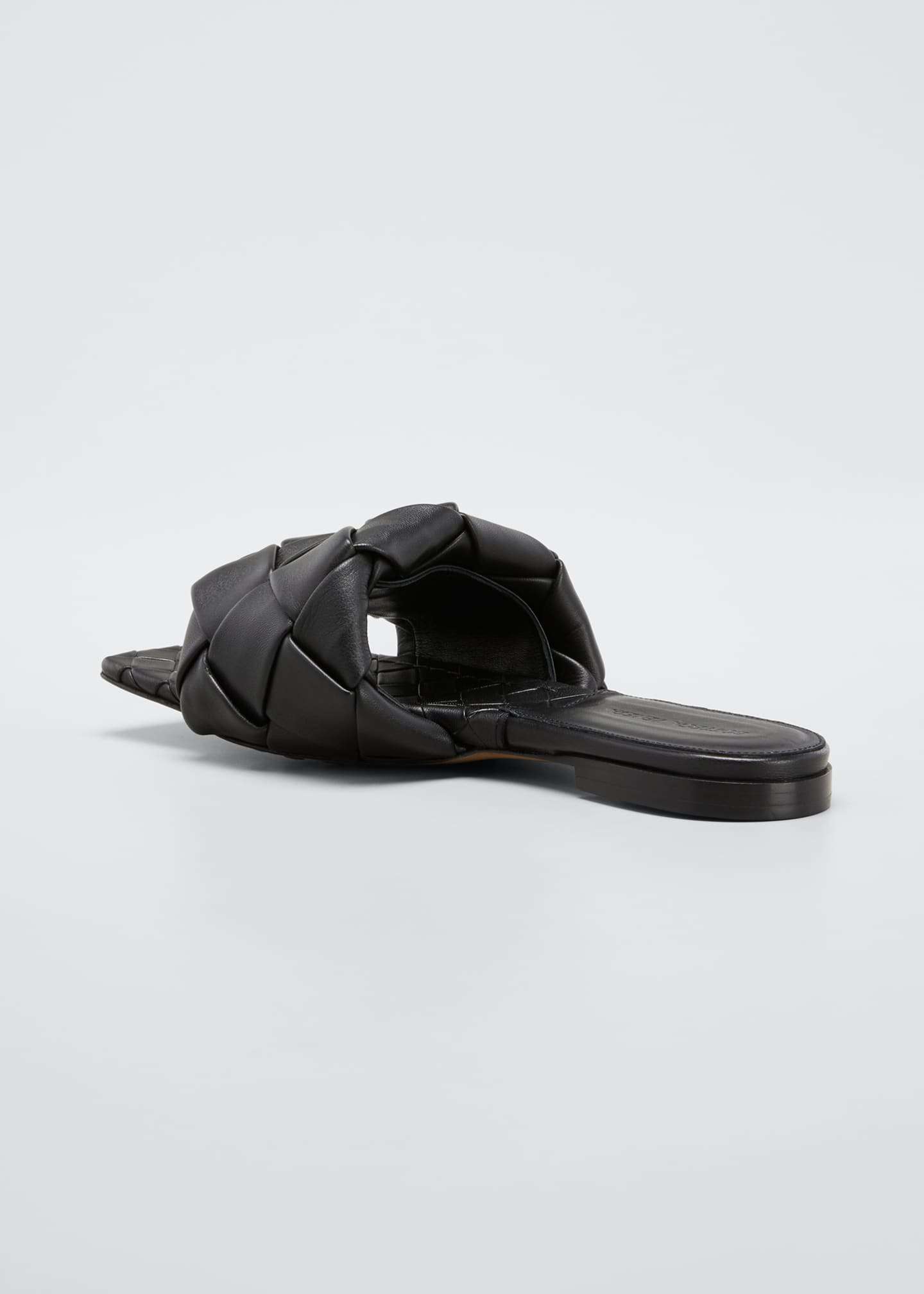 Image 4 of 5: Puffy Intreccio Square-Toe Flat Slide Sandals