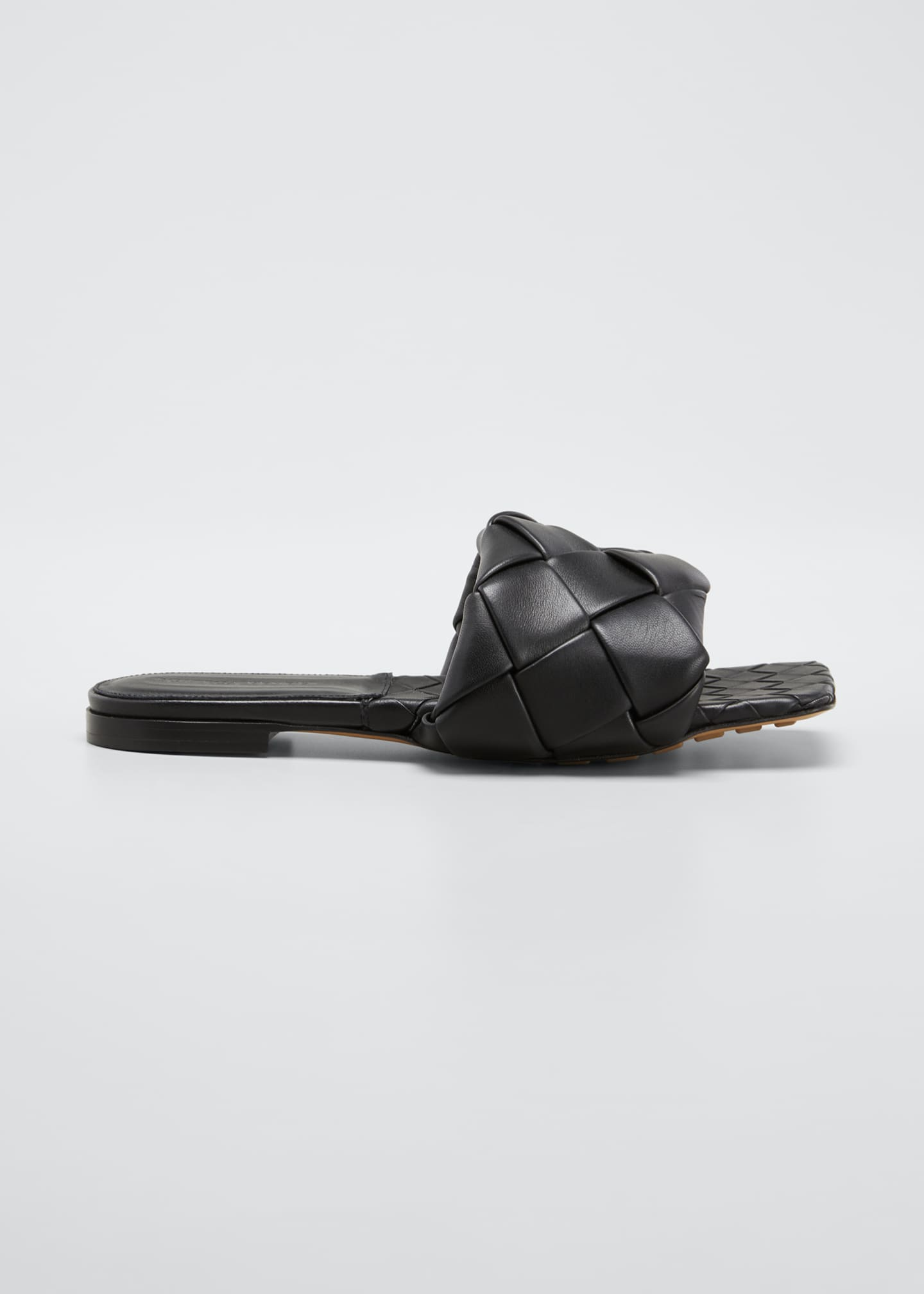 Image 1 of 5: Puffy Intreccio Square-Toe Flat Slide Sandals