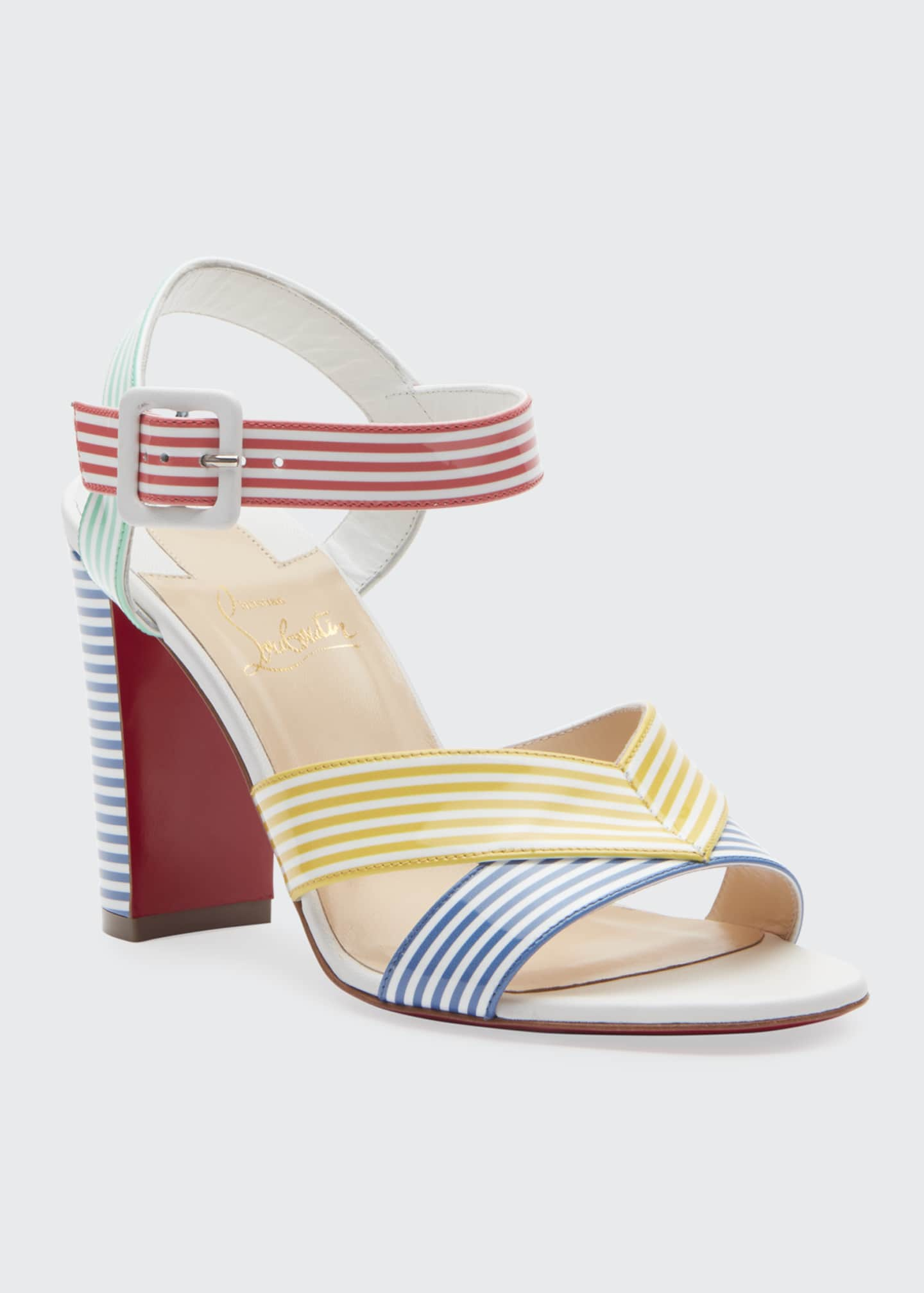 Image 2 of 2: Palavas Multicolored Striped 85mm Red Sole Sandals