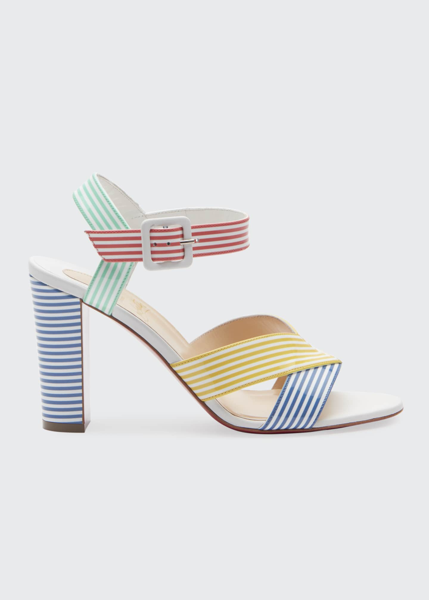 Image 1 of 2: Palavas Multicolored Striped 85mm Red Sole Sandals