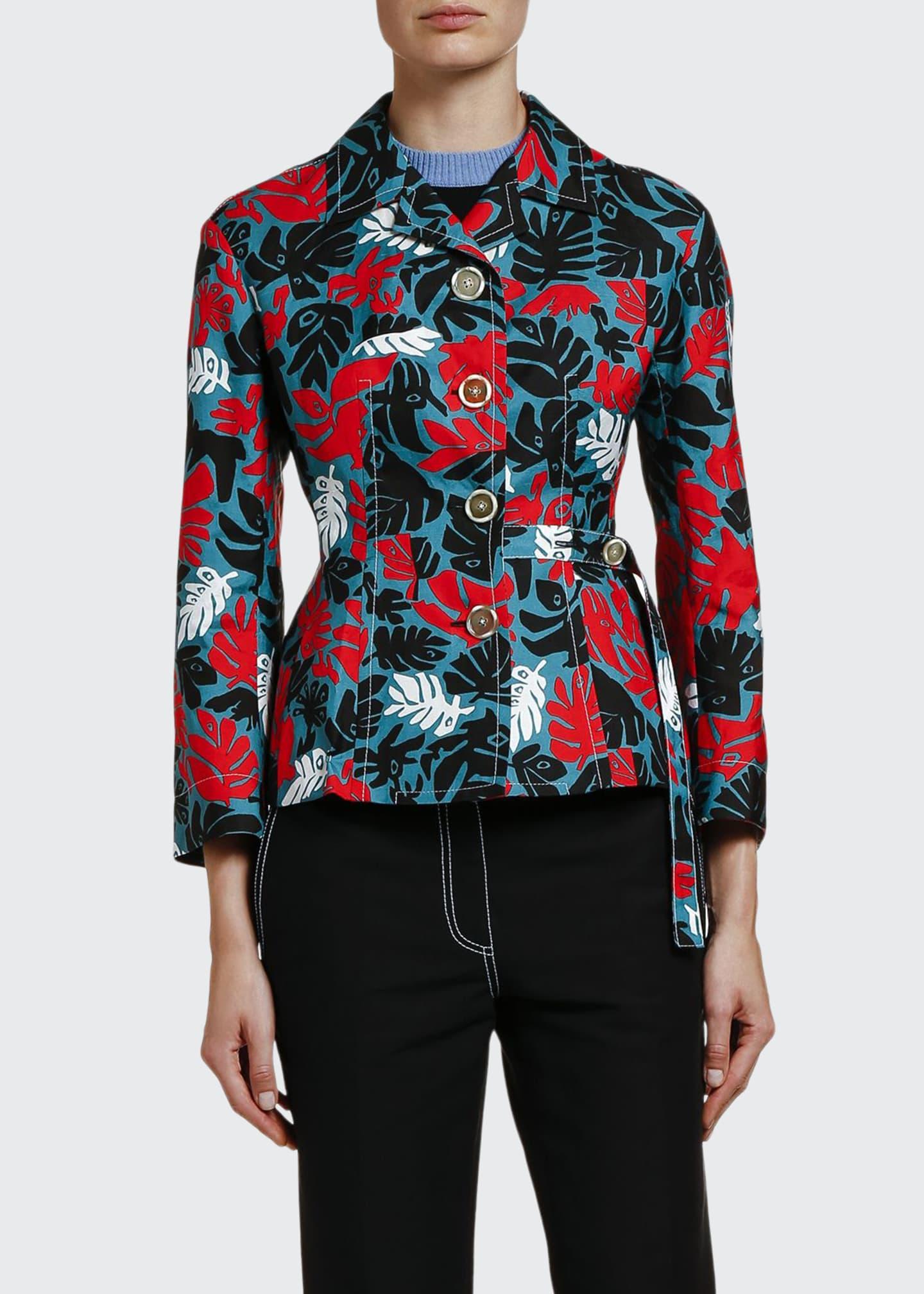 Marni Leaf-Print Polo-Neck Crop Jacket