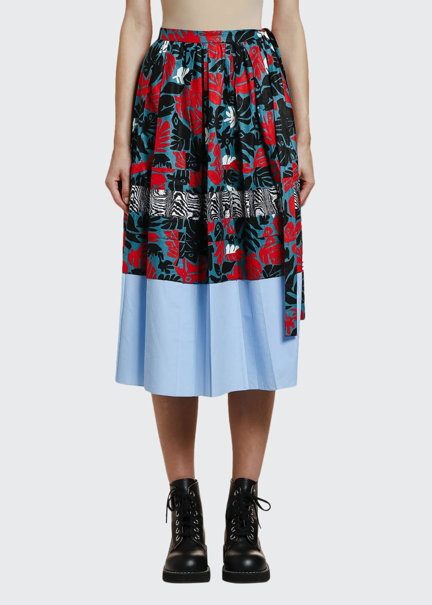 Marni Pleated Mixed-Print Midi Skirt