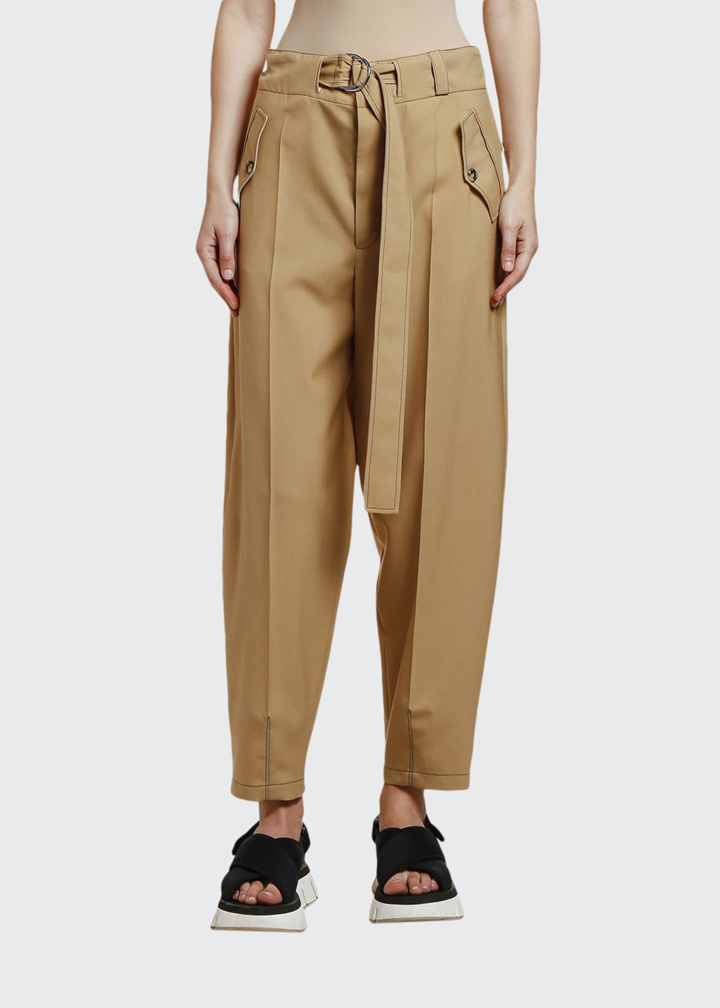 Marni Belted Wool Utility Trousers
