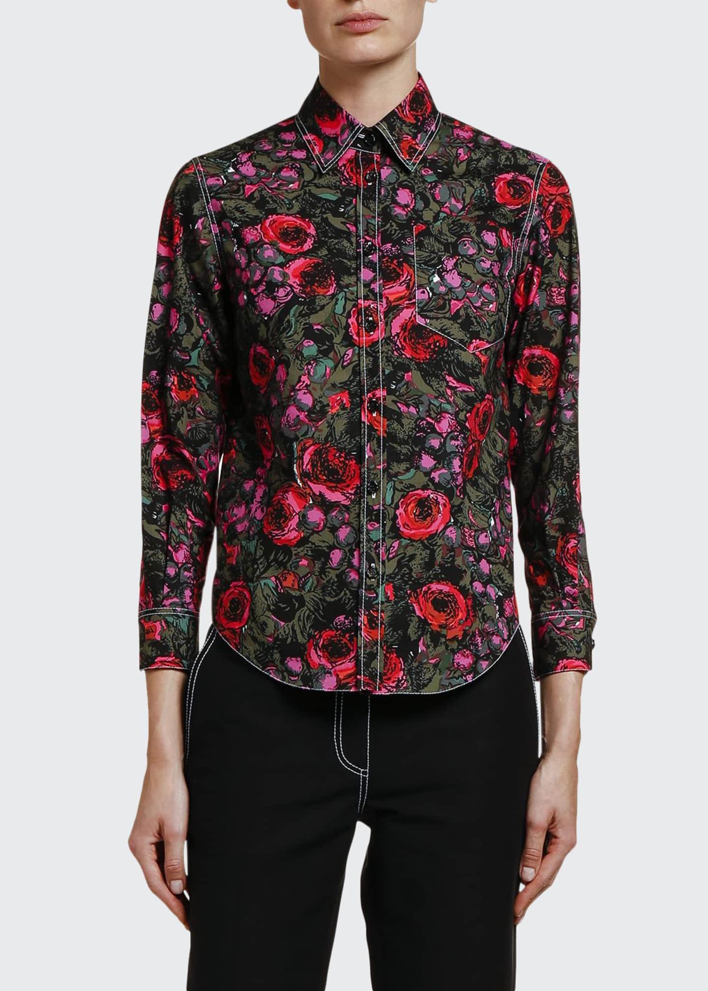 Marni Floral-Print Cotton Poplin Shirt
