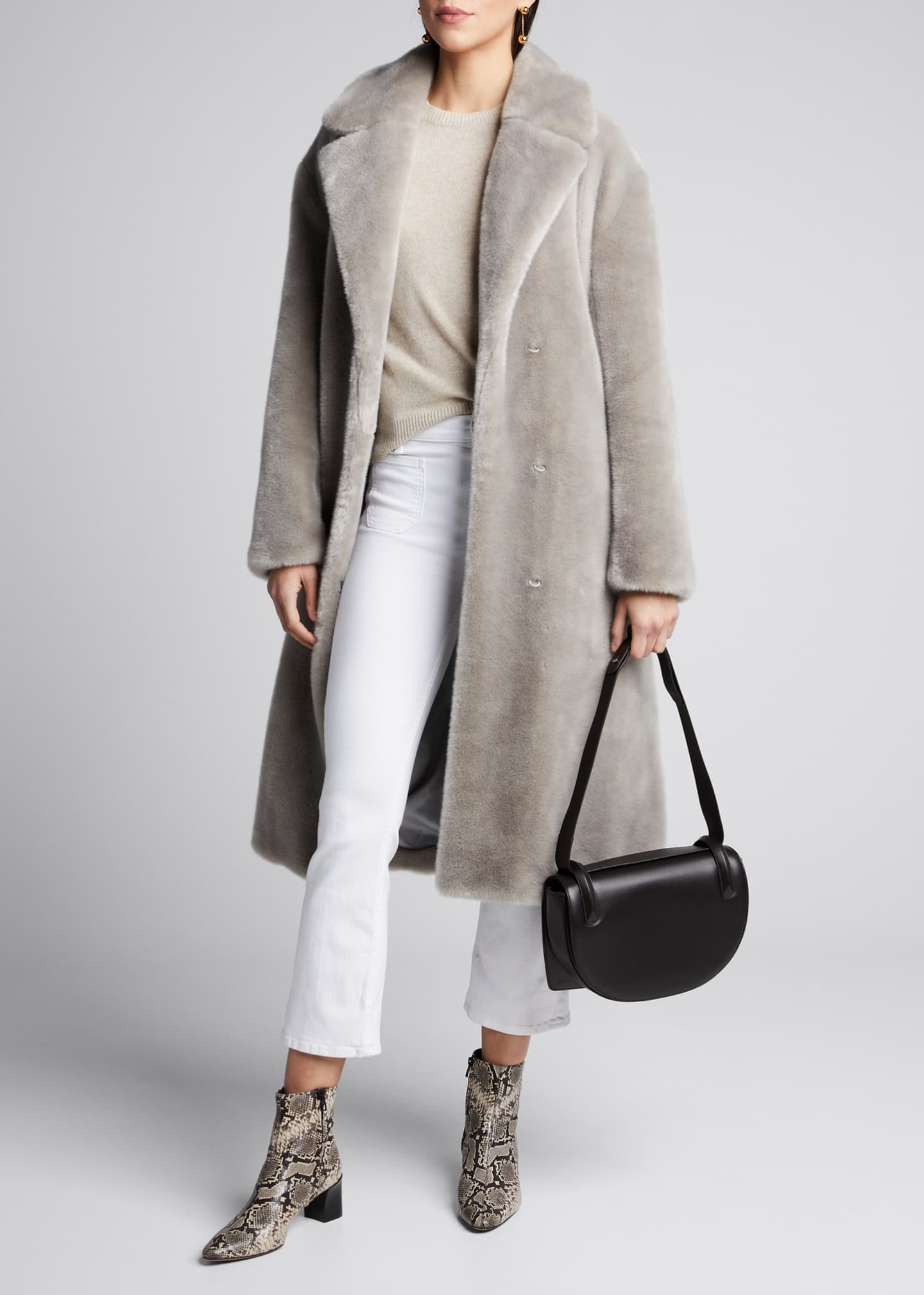 Luxe Faux Fur Oversized Trench Coat by Tibi