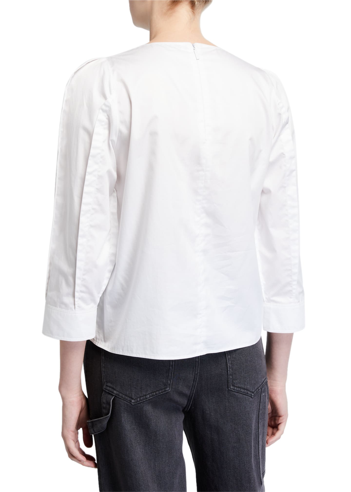 Image 2 of 2: 3/4-Sleeve Satin Poplin Sculpted Tucked Top