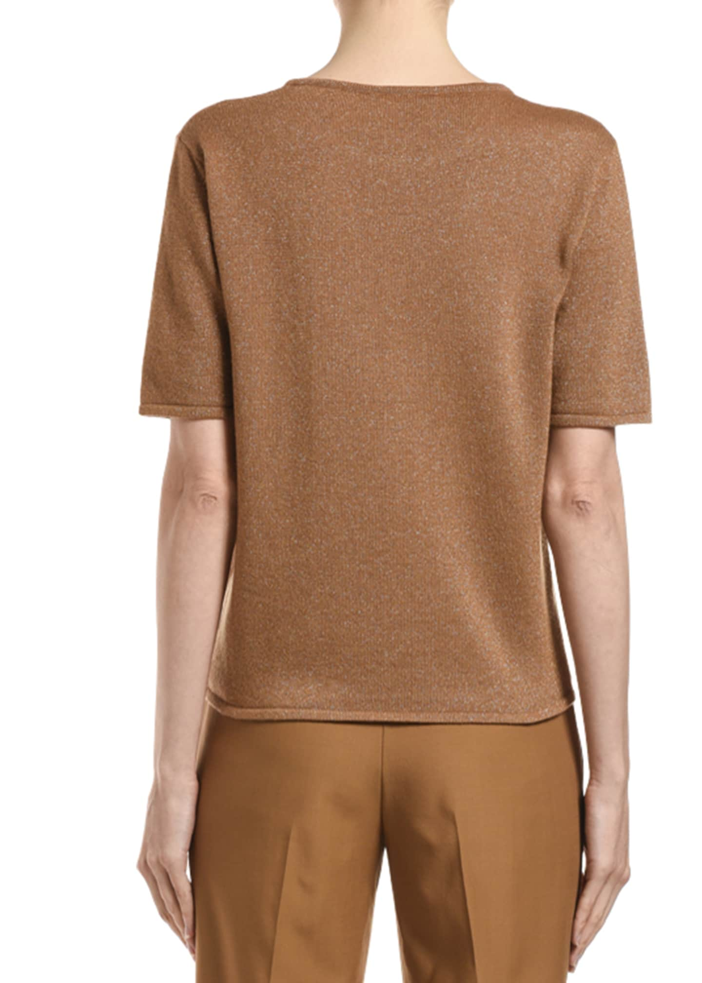 Image 2 of 2: Cashmere Shimmered Short-Sleeve Sweater