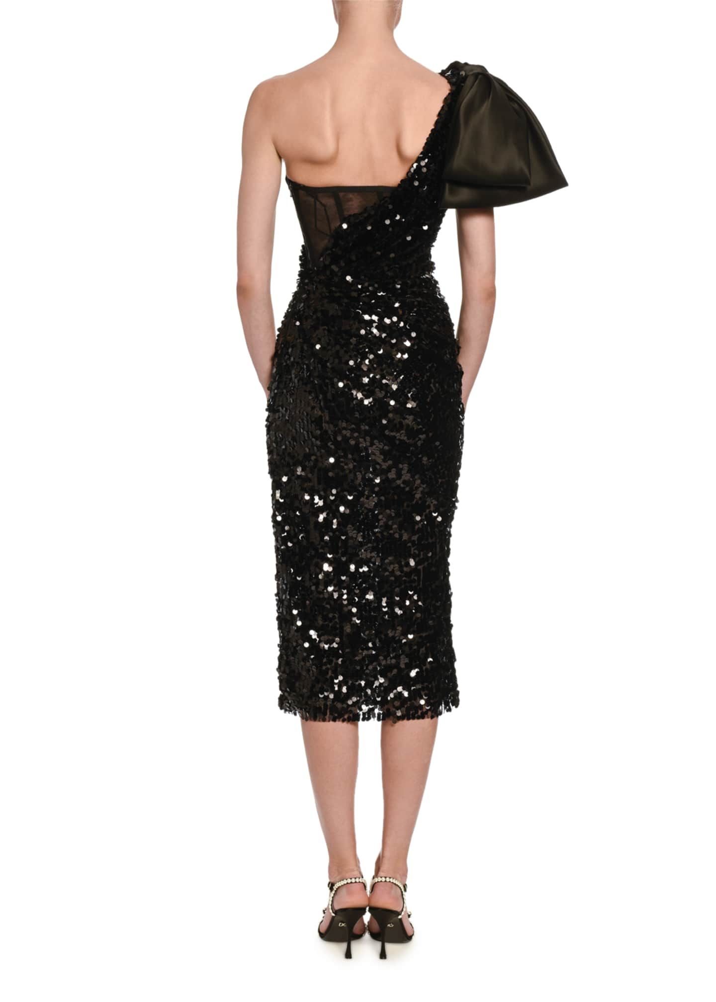 Image 2 of 2: Sequined One-Sleeve Cocktail Dress