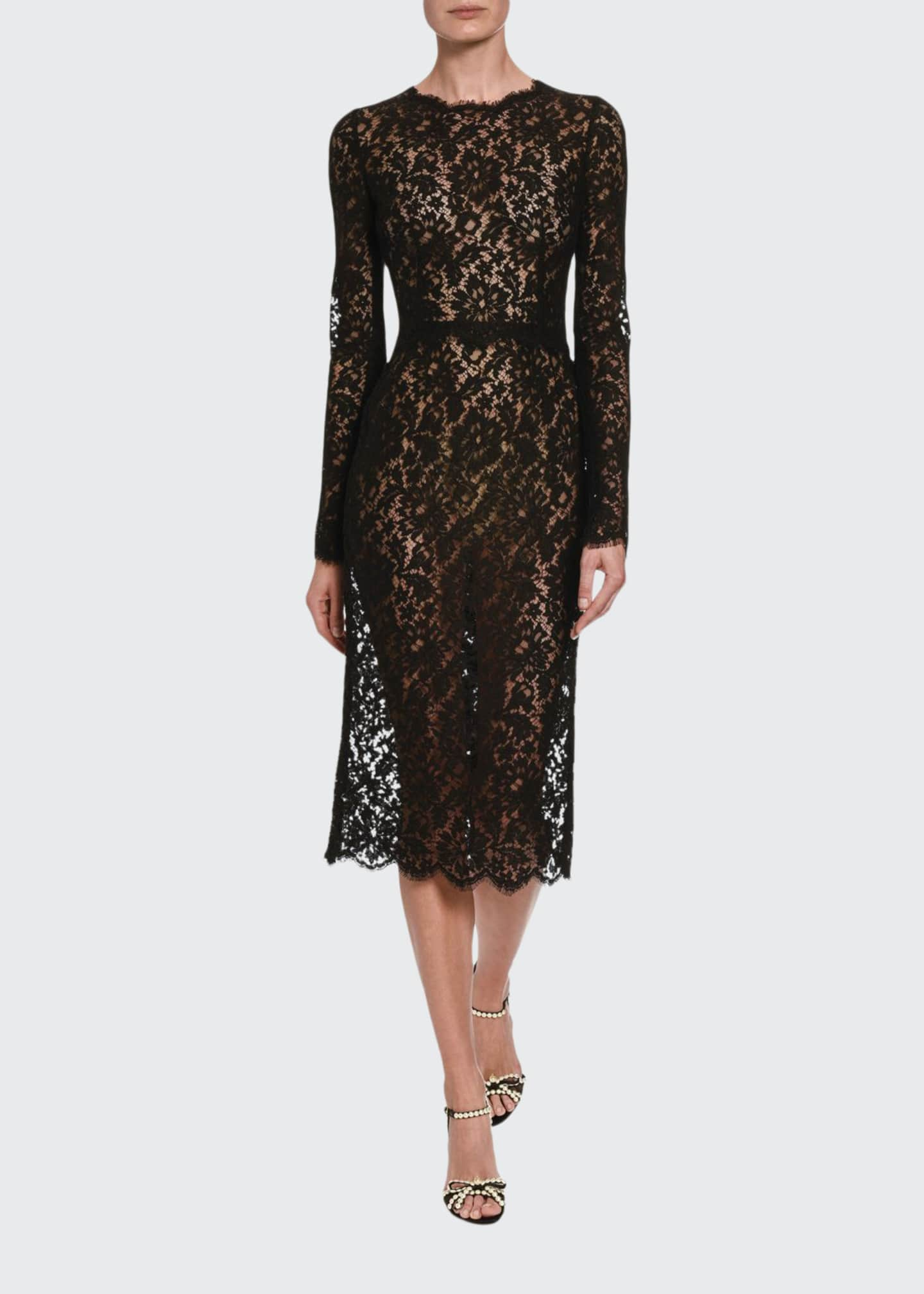 Dolce & Gabbana Classic Sheer Lace Long-Sleeve Midi