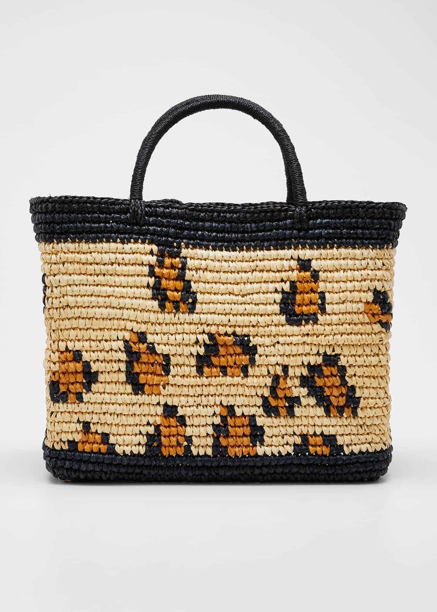 Sensi Studio Leopard-Print Straw Tote Bag