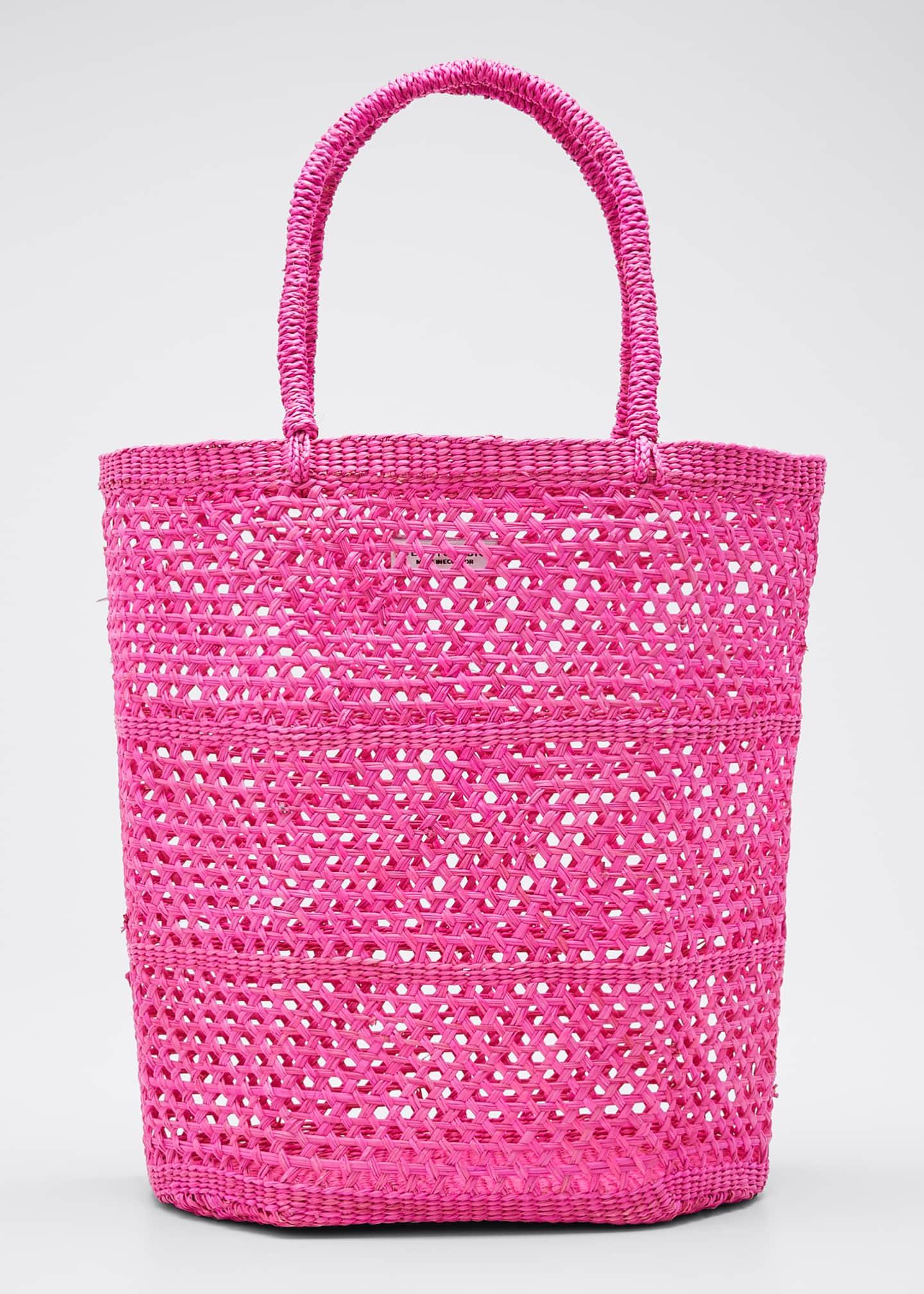 Sensi Studio Woven Straw Basket Tote Bag