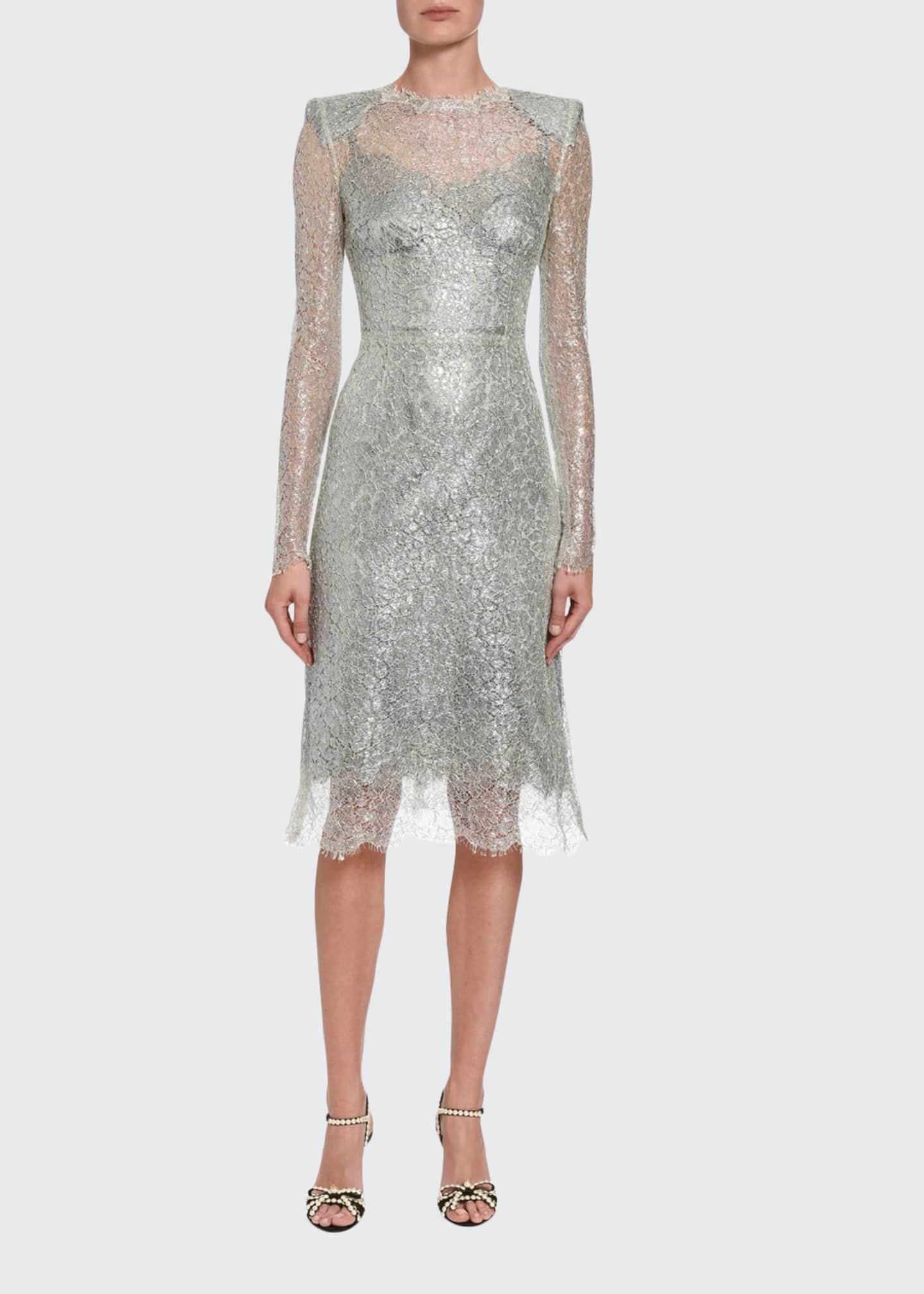 Dolce & Gabbana Long-Sleeve Crewneck Lace Dress