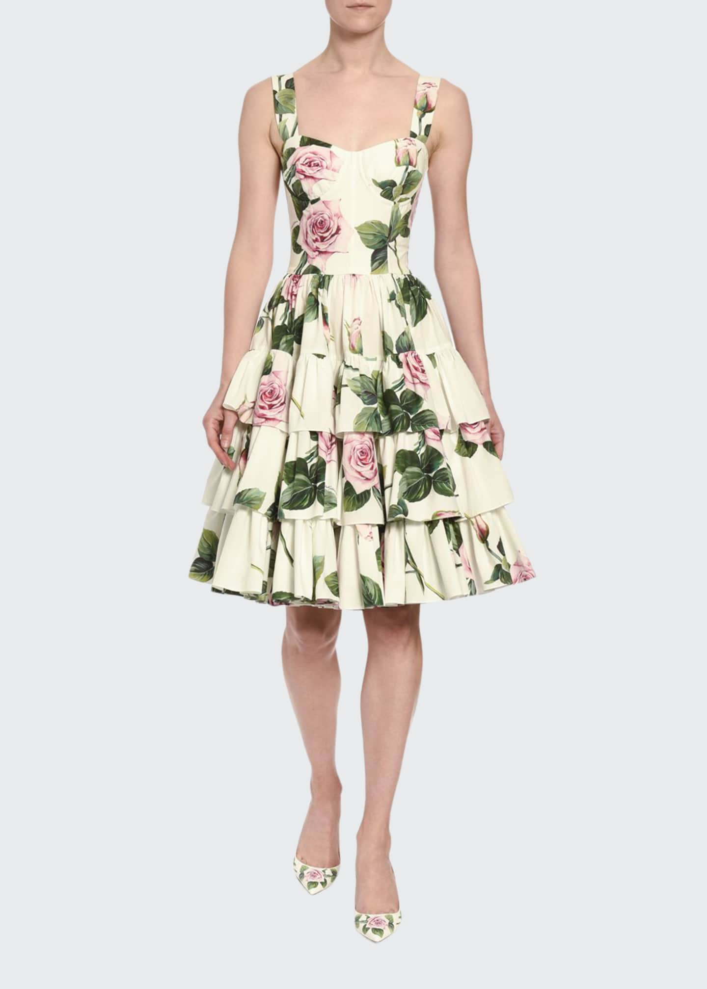 Dolce & Gabbana Floral-Print Poplin Sweetheart-Neck Ruffle Dress