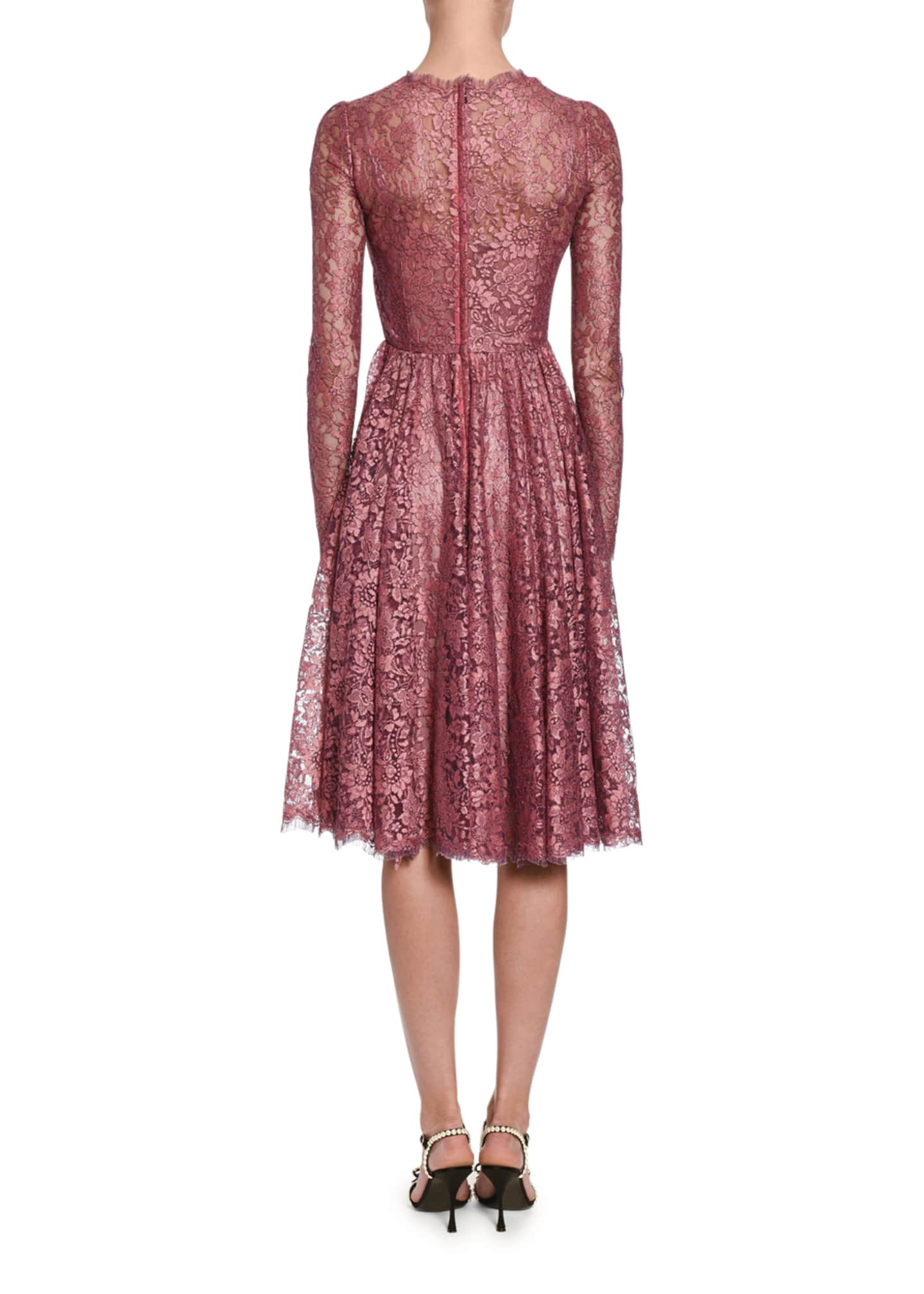Image 2 of 2: Lame Chantilly Lace Long-Sleeve Dress