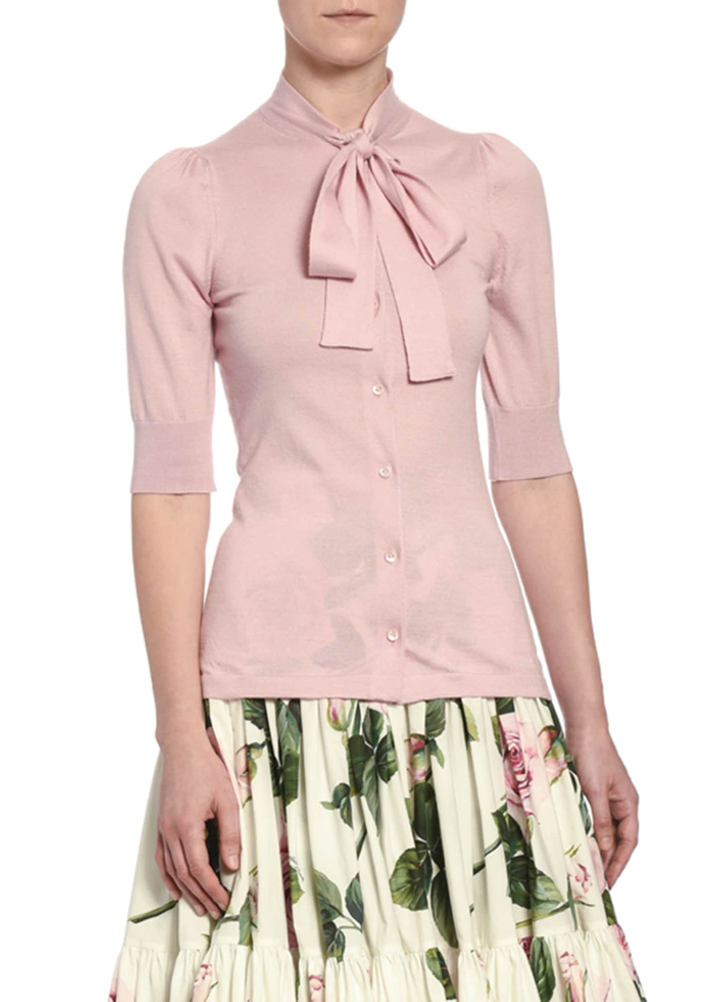 Dolce & Gabbana Cashmere Tie-Neck 1/2-Sleeve Cardigan