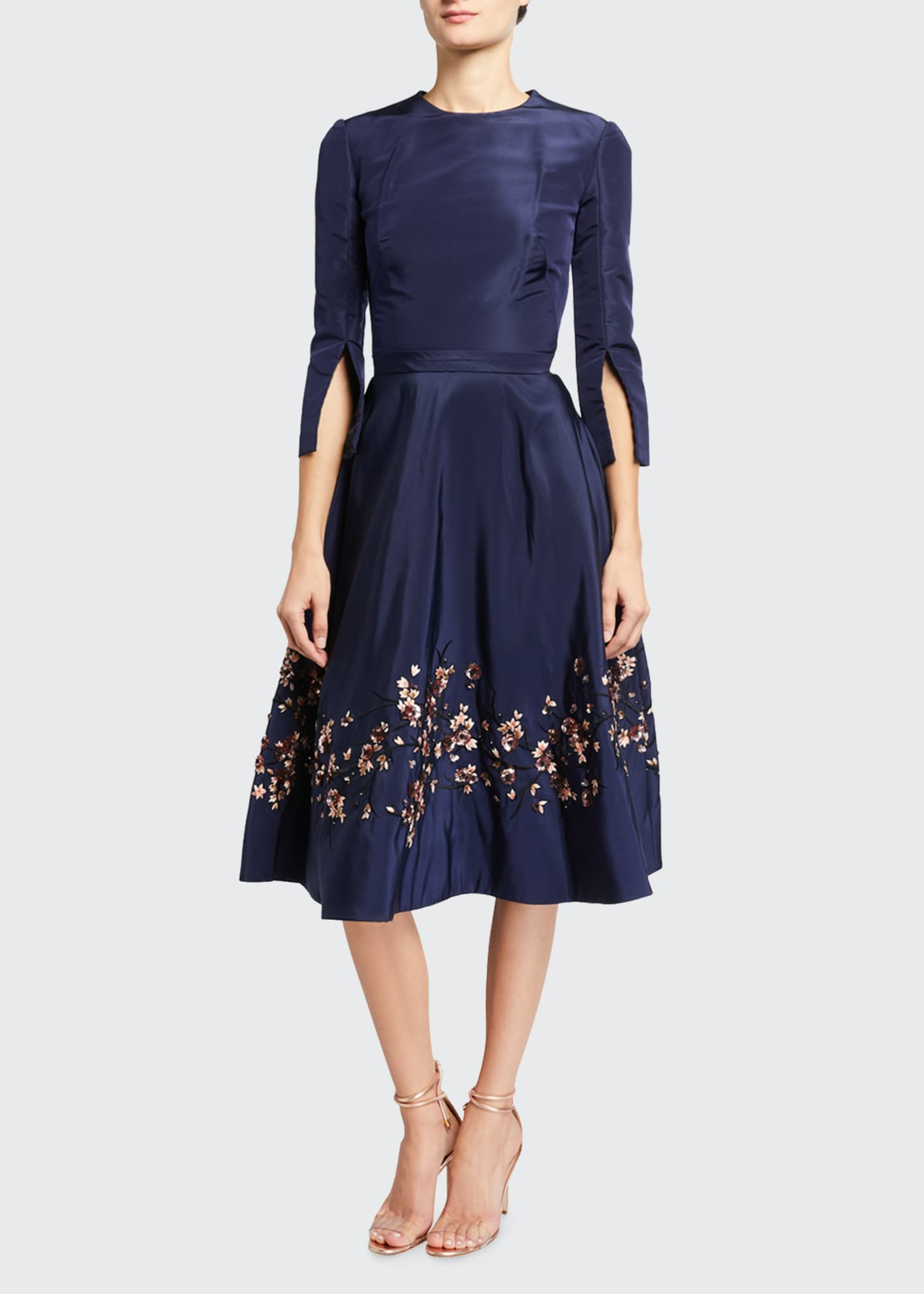 Embroidered Taffeta Dress