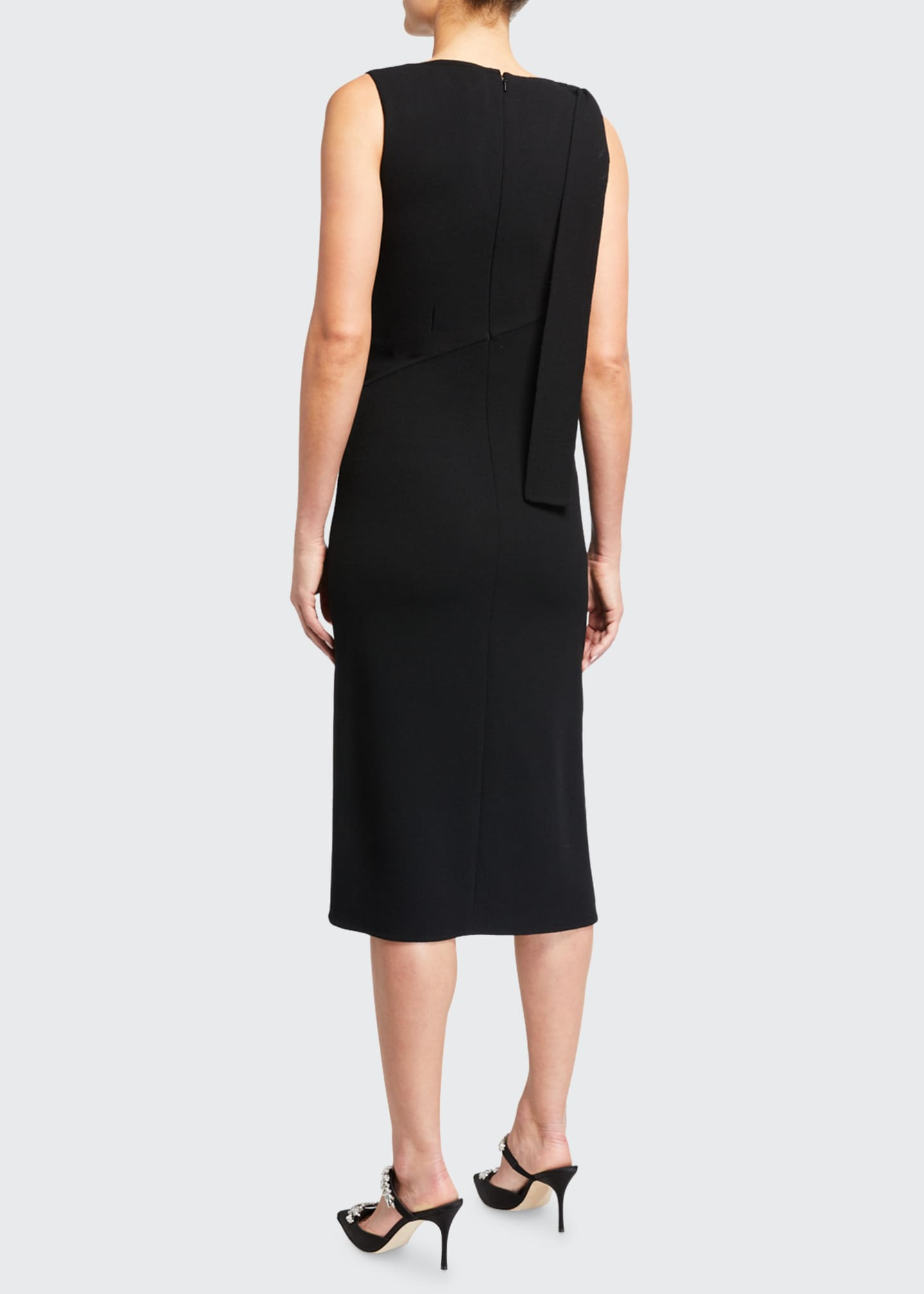 Image 2 of 2: Sleeveless Bateau-Neck Dress with Side Tie