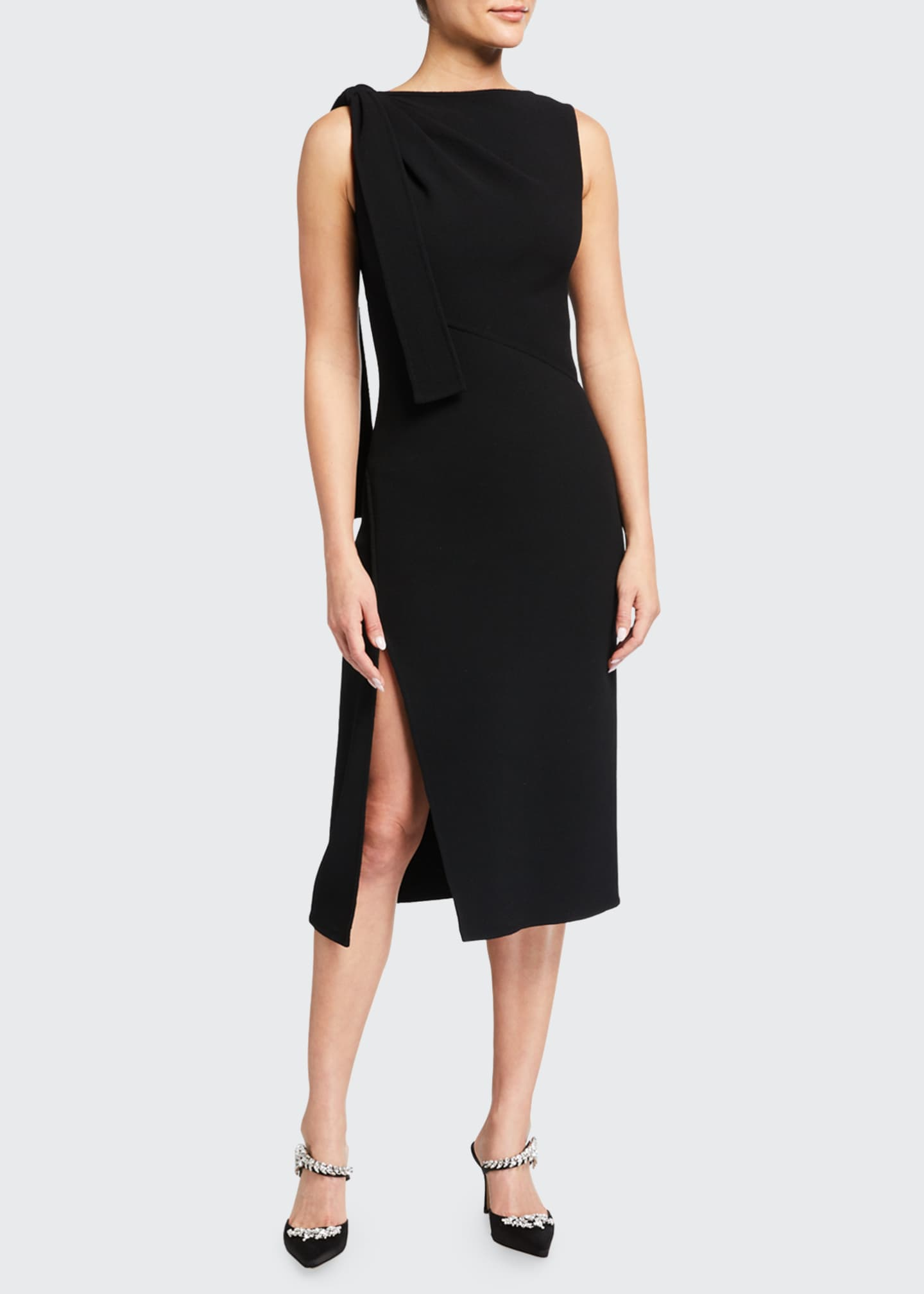 Image 1 of 2: Sleeveless Bateau-Neck Dress with Side Tie