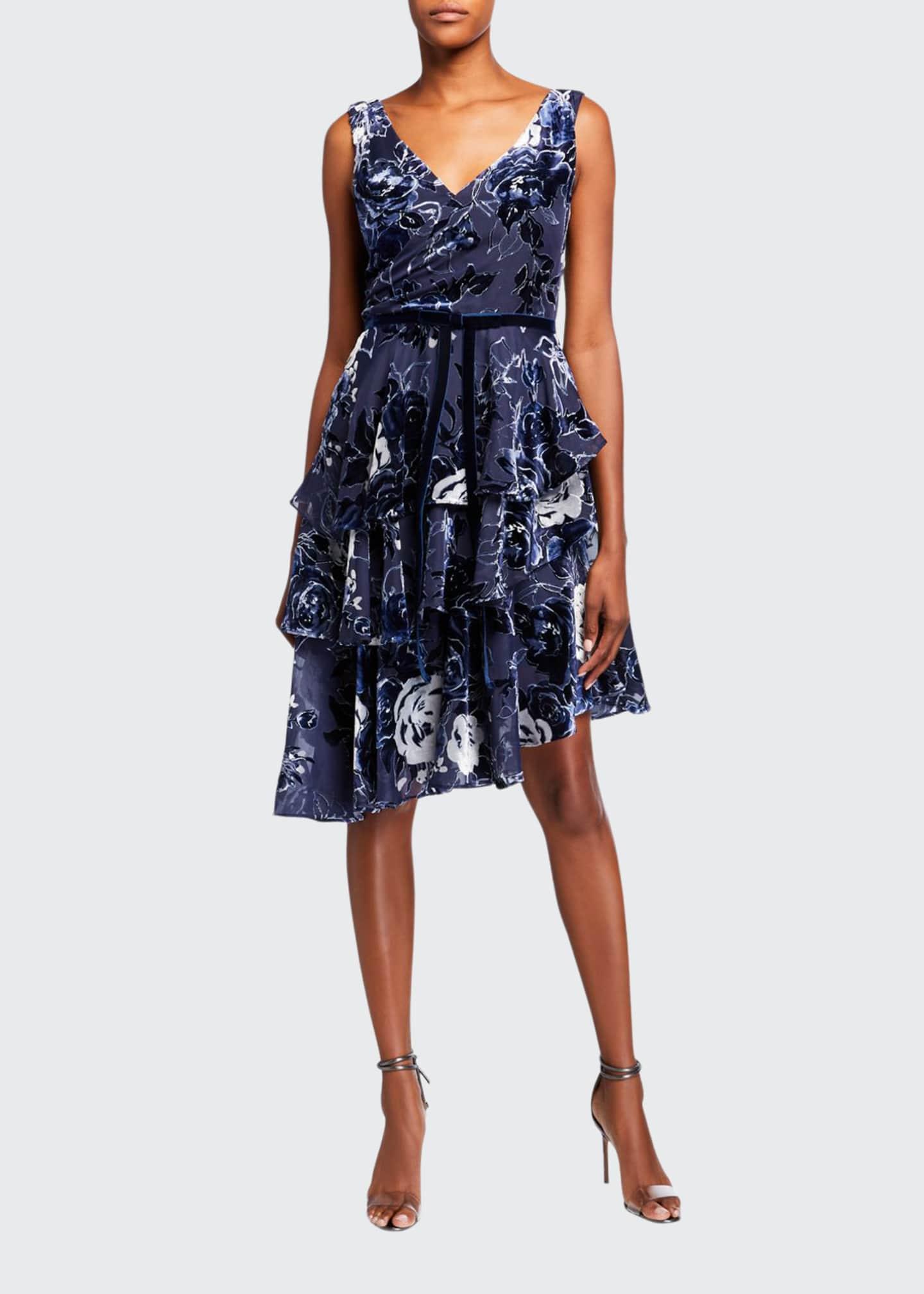 Marchesa Notte Sleeveless Velvet Burnout Chiffon Dress w/