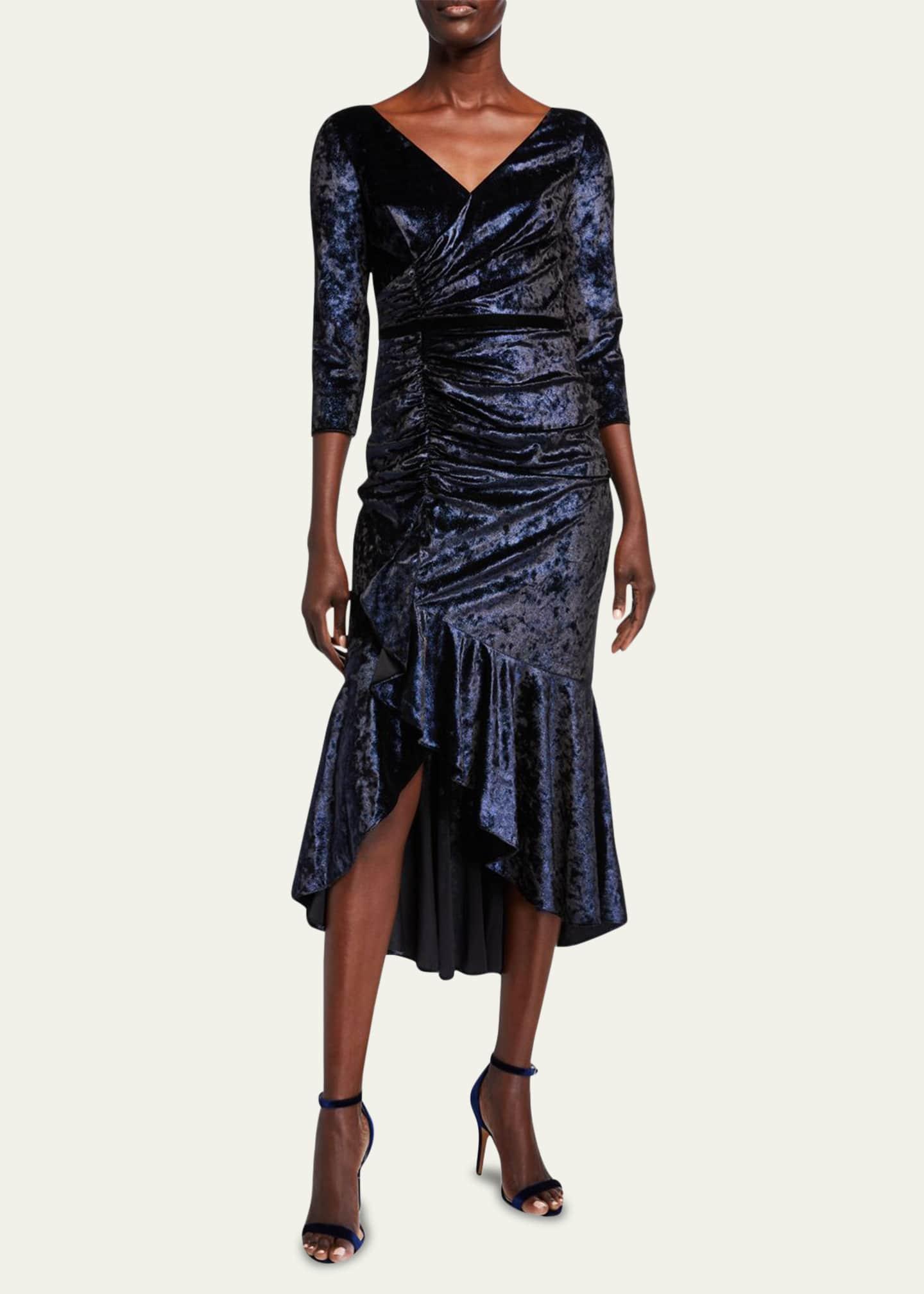 Marchesa Notte V-Neck 3/4-Sleeve Shirred Foiled Velvet High-Low