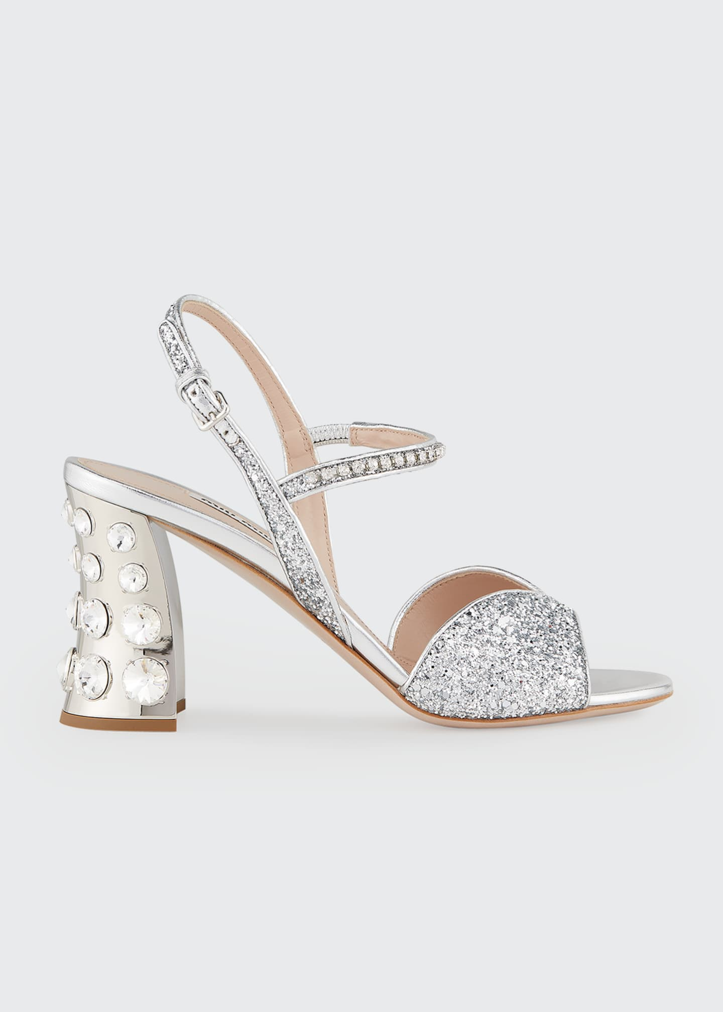 Image 1 of 4: 85mm Metallic Glitter Mirrored-Heel Sandals