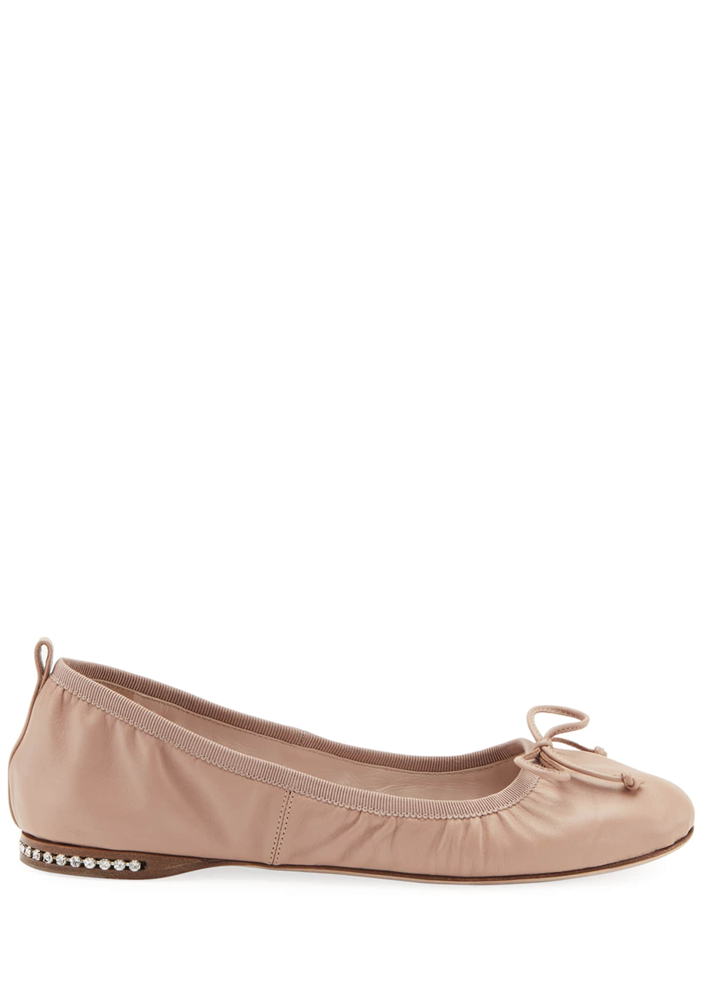 Image 2 of 2: Flat Leather Ballet Flats with Jeweled Heel