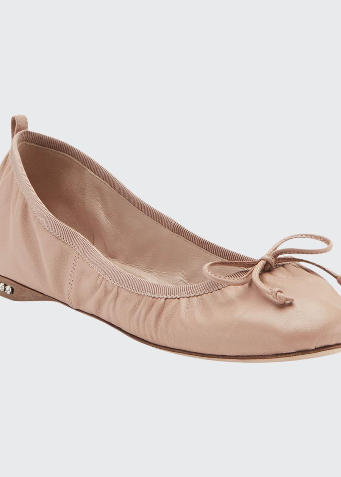 Miu Miu Flat Leather Ballet Flats with Jeweled