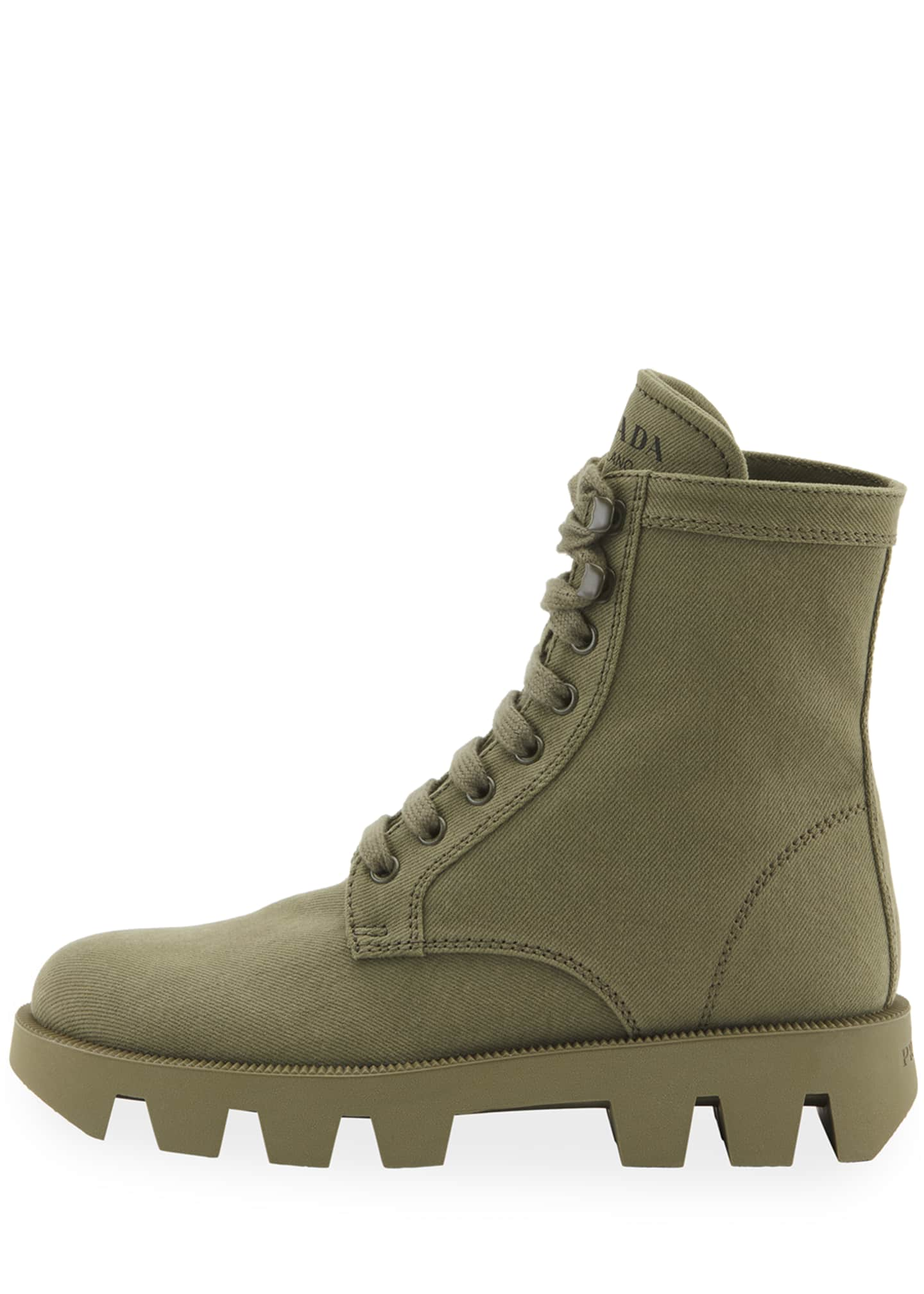 Image 2 of 2: Lug-Sole Canvas Combat Boots
