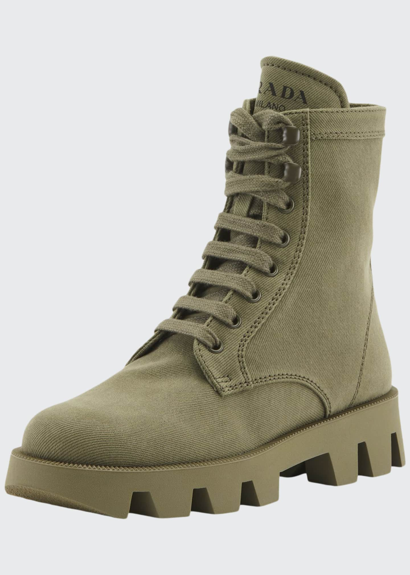 Image 1 of 2: Lug-Sole Canvas Combat Boots