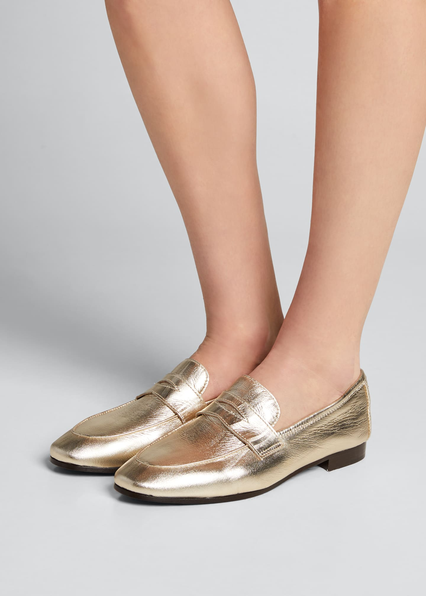Image 2 of 5: Flaneur Metallic Leather Penny Loafers