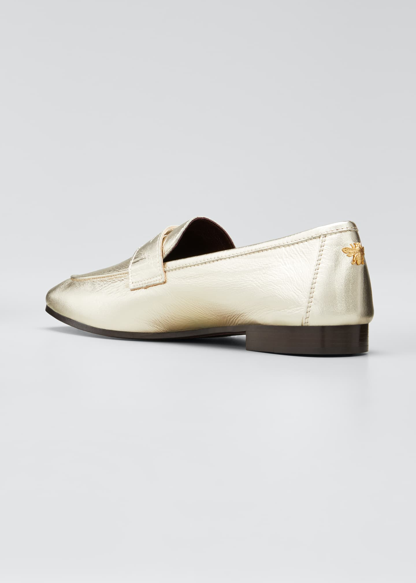 Image 4 of 5: Flaneur Metallic Leather Penny Loafers