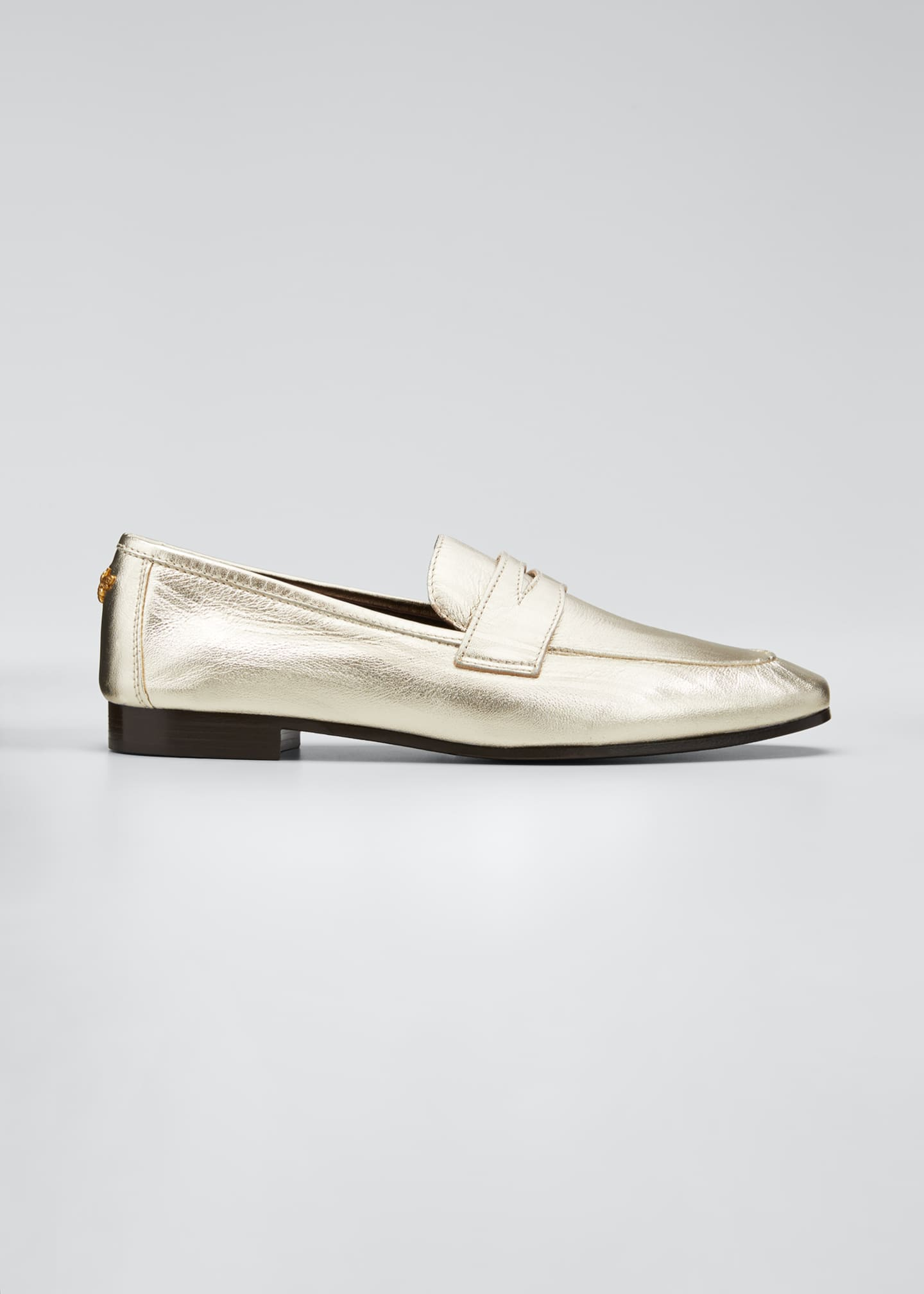 Image 1 of 5: Flaneur Metallic Leather Penny Loafers