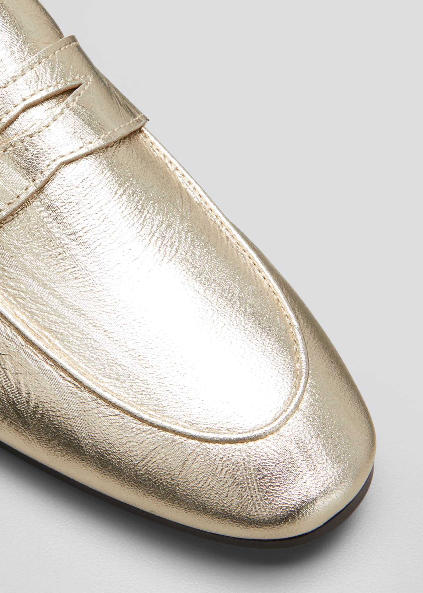 Image 5 of 5: Flaneur Metallic Leather Penny Loafers