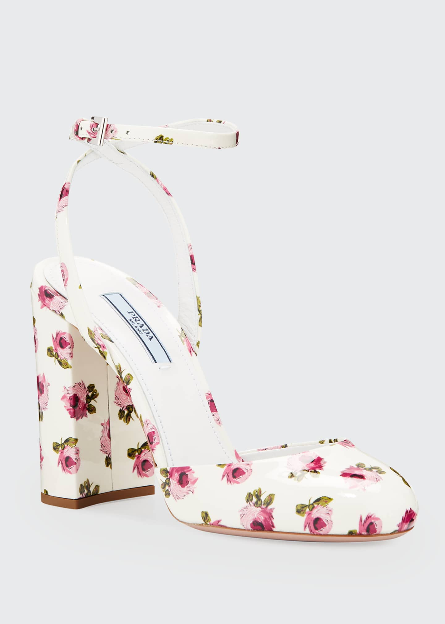 Image 2 of 3: Floral Patent Ankle Pumps