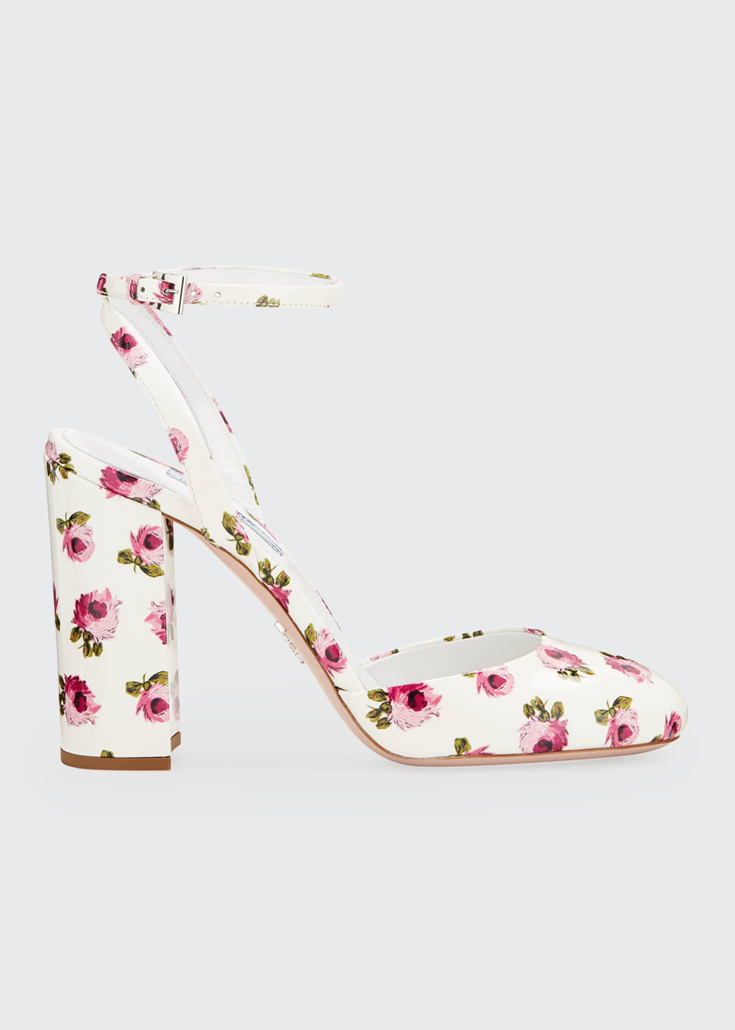 Image 1 of 3: Floral Patent Ankle Pumps