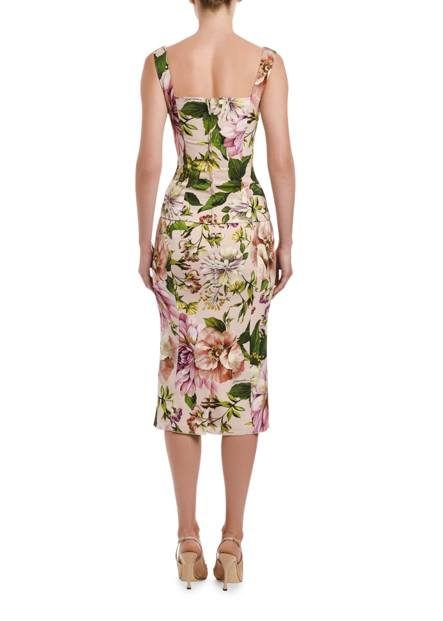 Image 2 of 2: Floral-Print Charmeuse Pencil Skirt