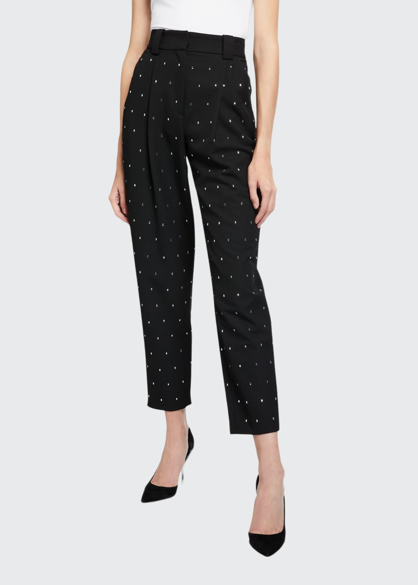 A.L.C. Colin Crystal-Embellished High-Rise Ankle Pants