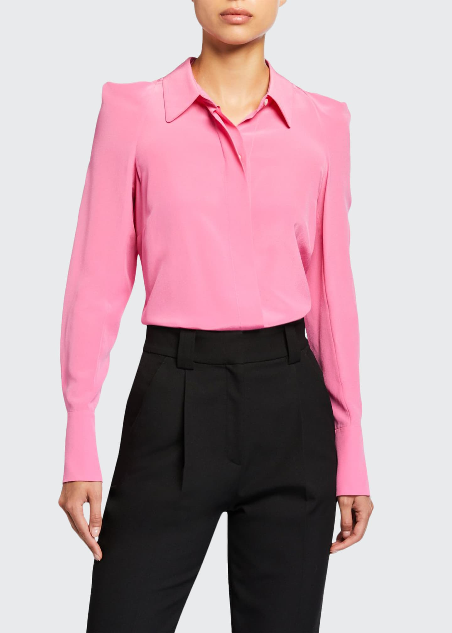 A.L.C. Carrera Strong-Shoulder Silk Top