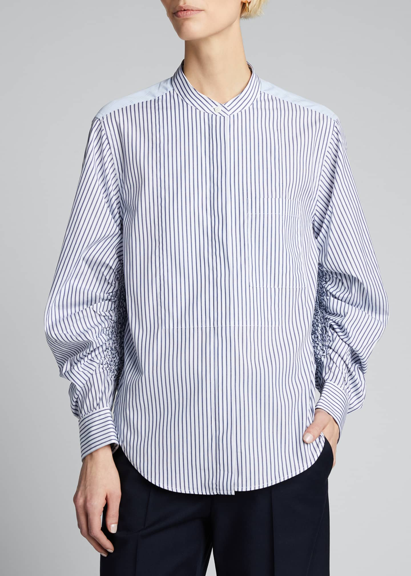 Image 3 of 5: Striped Shirt w/ Gathered Sleeves