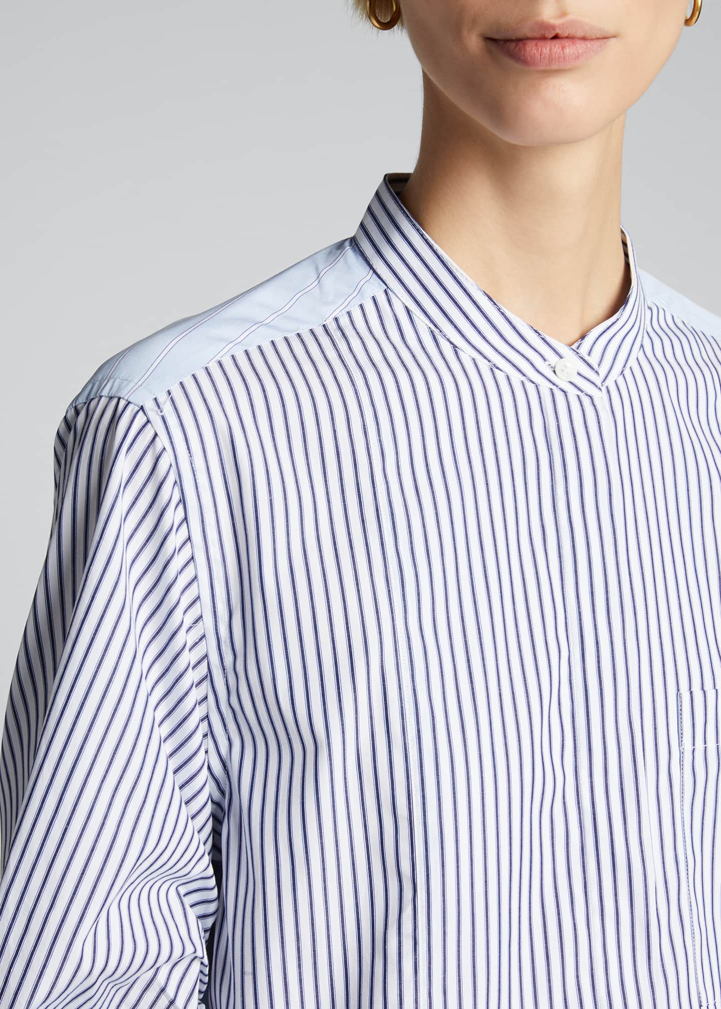 Image 4 of 5: Striped Shirt w/ Gathered Sleeves