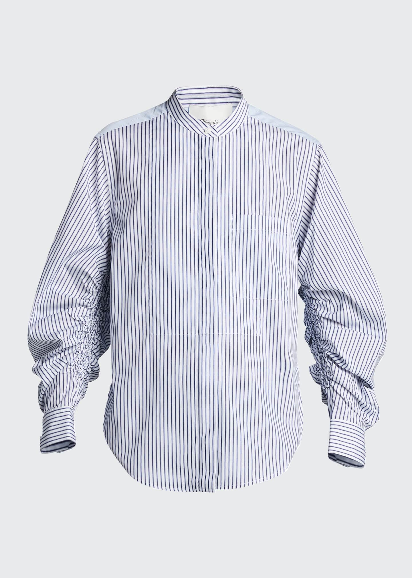 Image 5 of 5: Striped Shirt w/ Gathered Sleeves