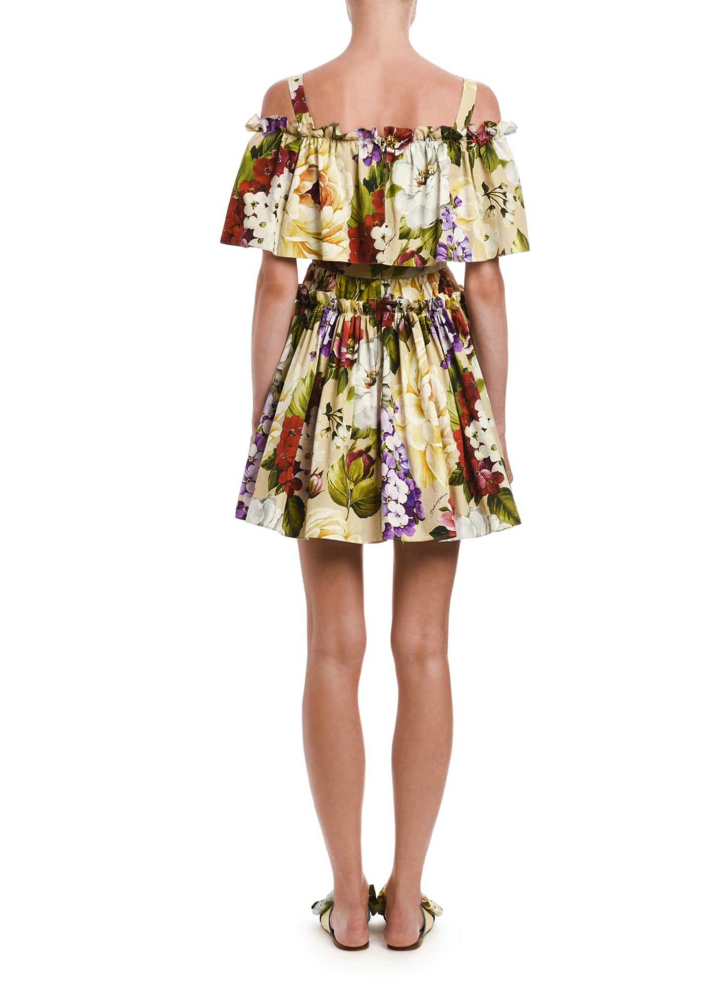 Image 2 of 2: Floral Stretch Poplin Cold Shoulder Flounce Dress