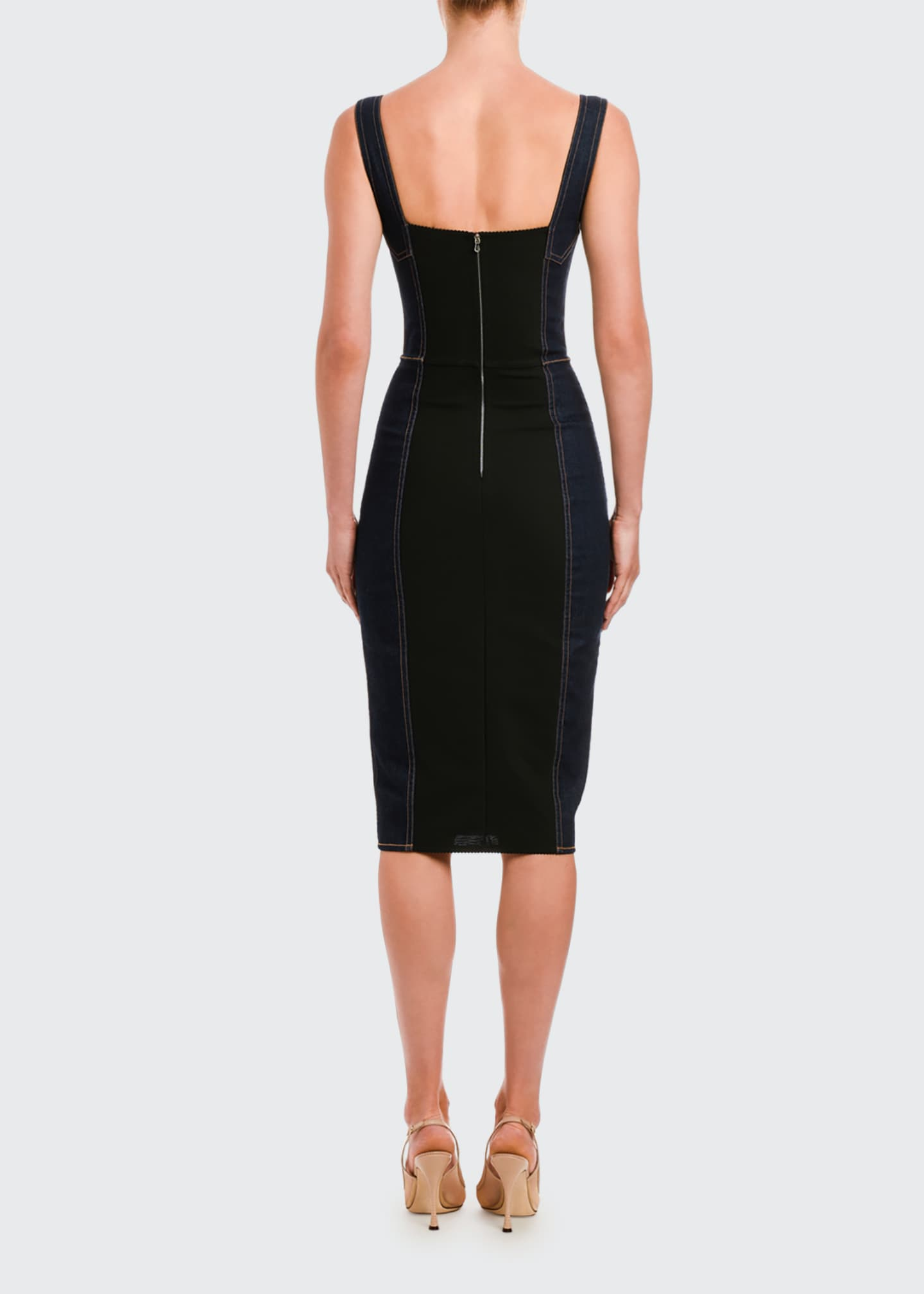Image 2 of 2: Sleeveless Stretch Denim Pencil Dress